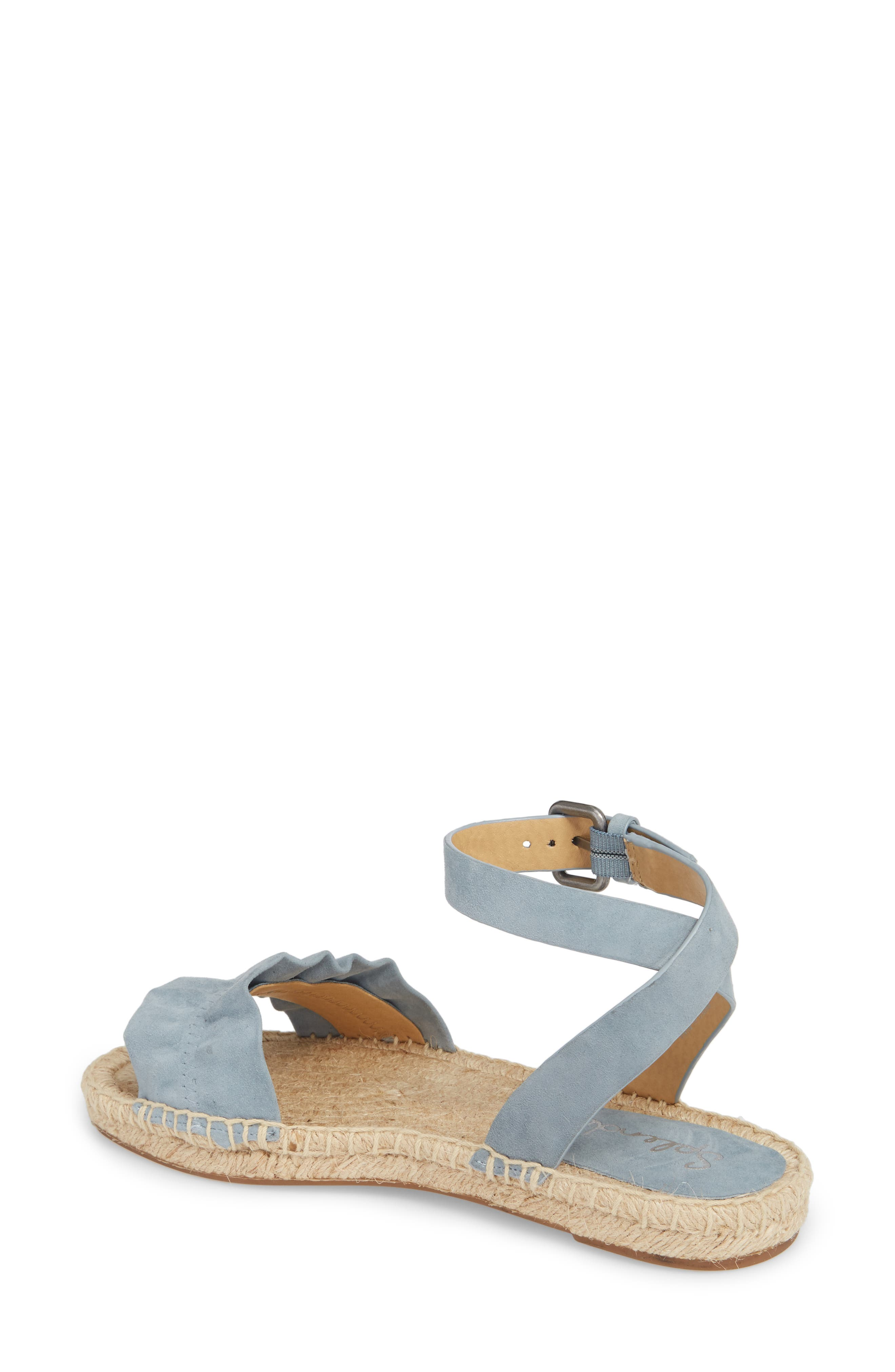 Becca Ruffled Espadrille Sandal,                             Alternate thumbnail 2, color,                             Shadow Blue Suede