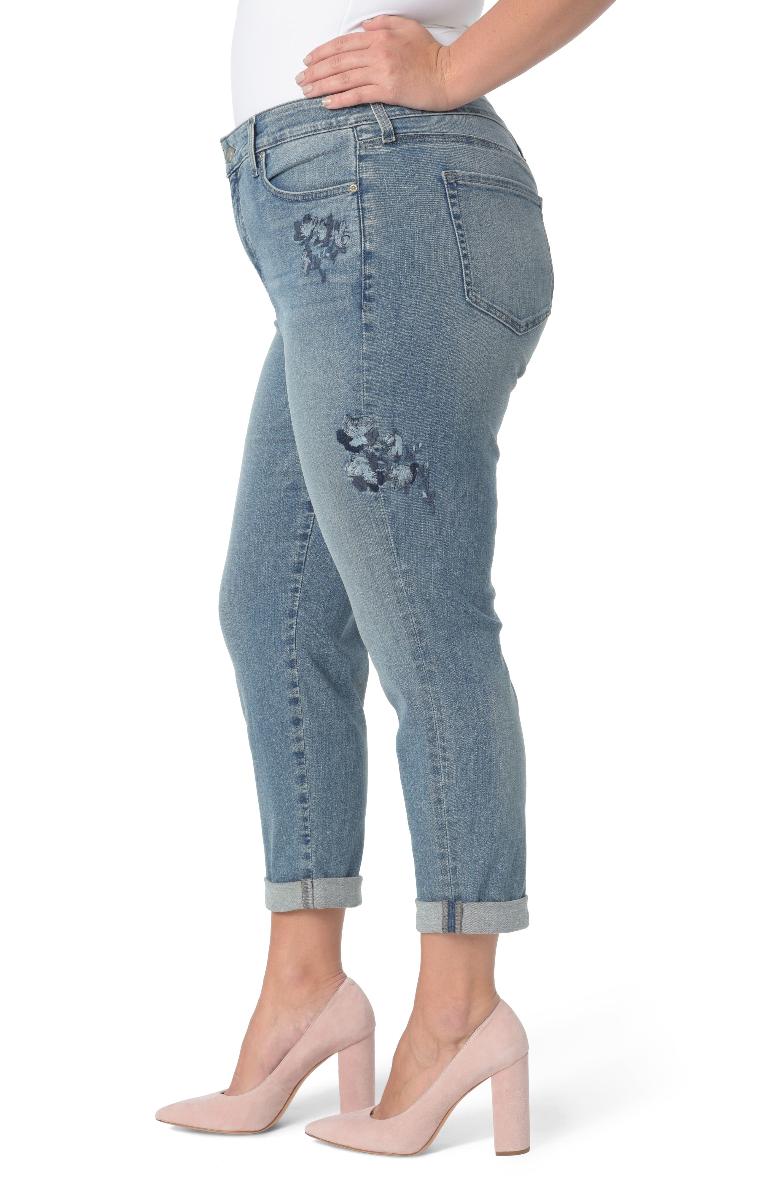 Alternate Image 3  - NYDJ Floral Embroidery Boyfriend Jeans (Pacific) (Plus Size)