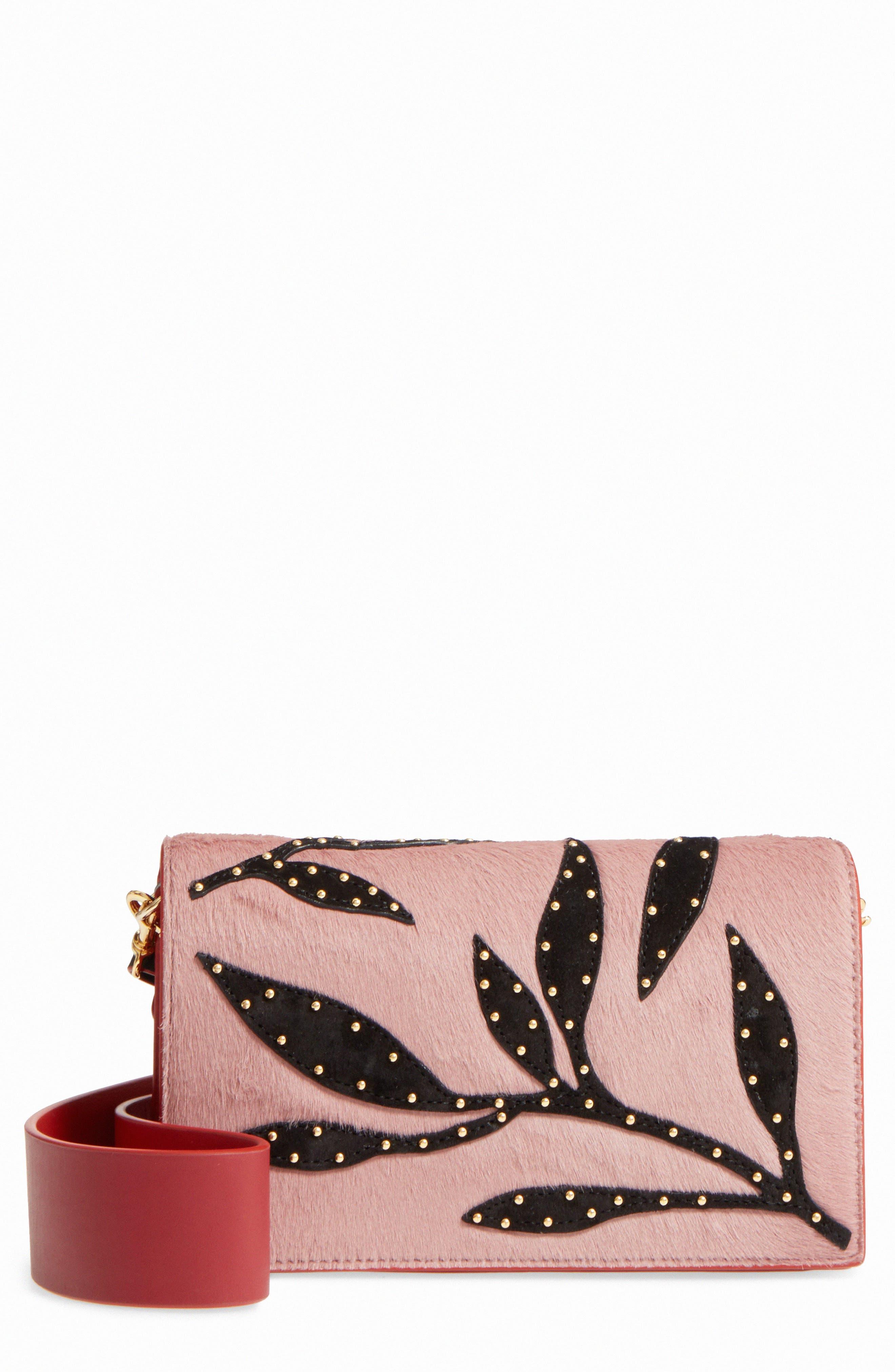 Soirée Genuine Calf Hair & Leather Convertible Shoulder Bag,                             Main thumbnail 1, color,                             Mauve