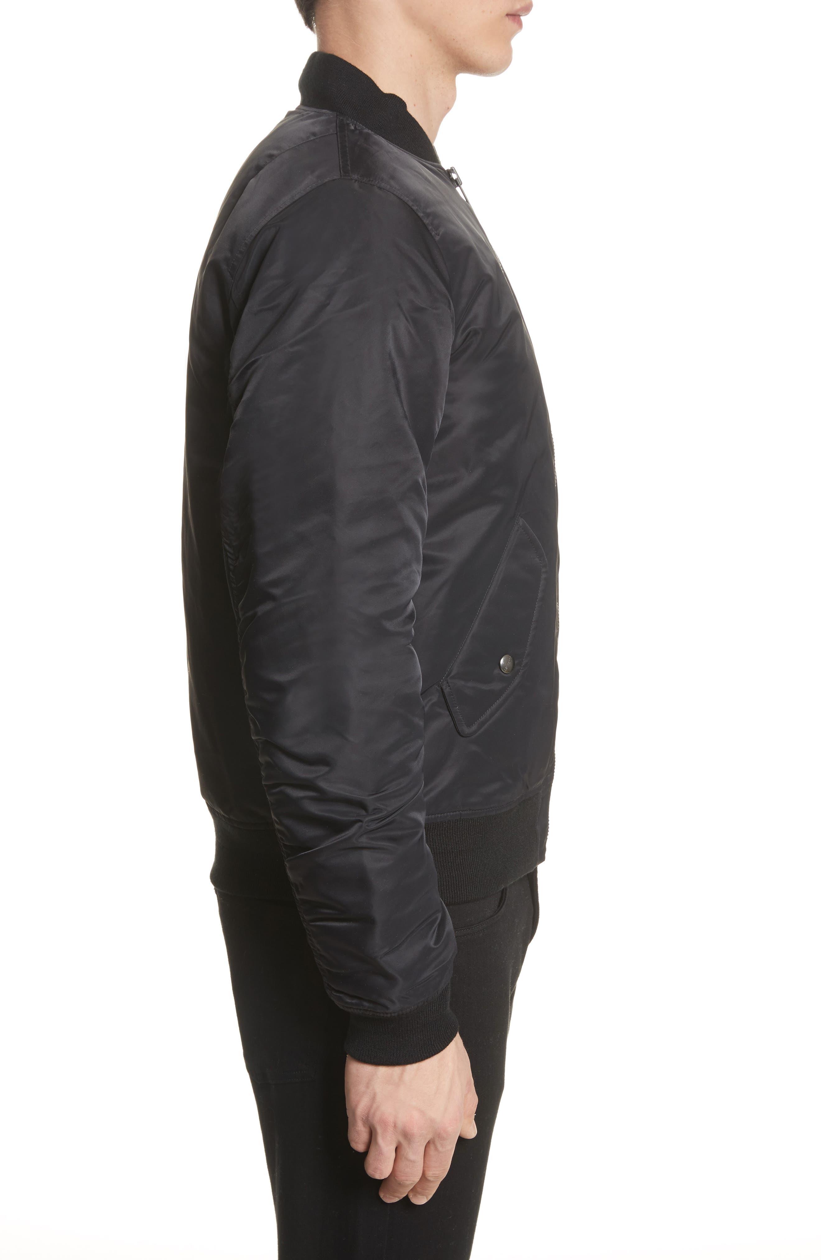Ashton Bomber Jacket,                             Alternate thumbnail 3, color,                             Black/ Black