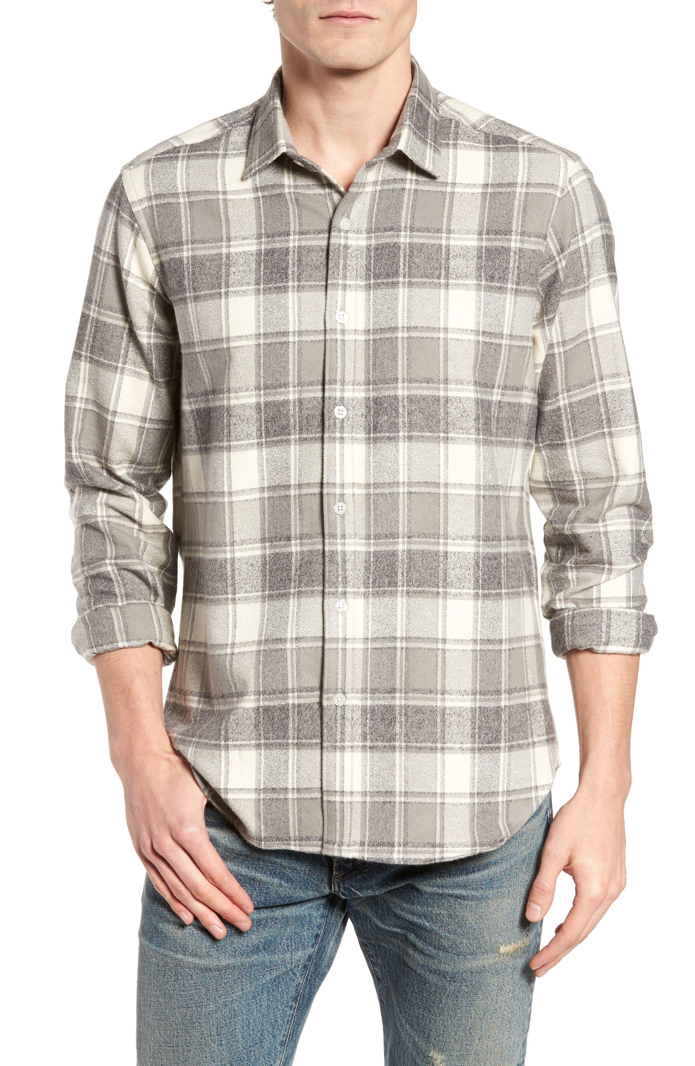 Ma Slim Fit Plaid Sport Shirt,                             Main thumbnail 1, color,                             Iron