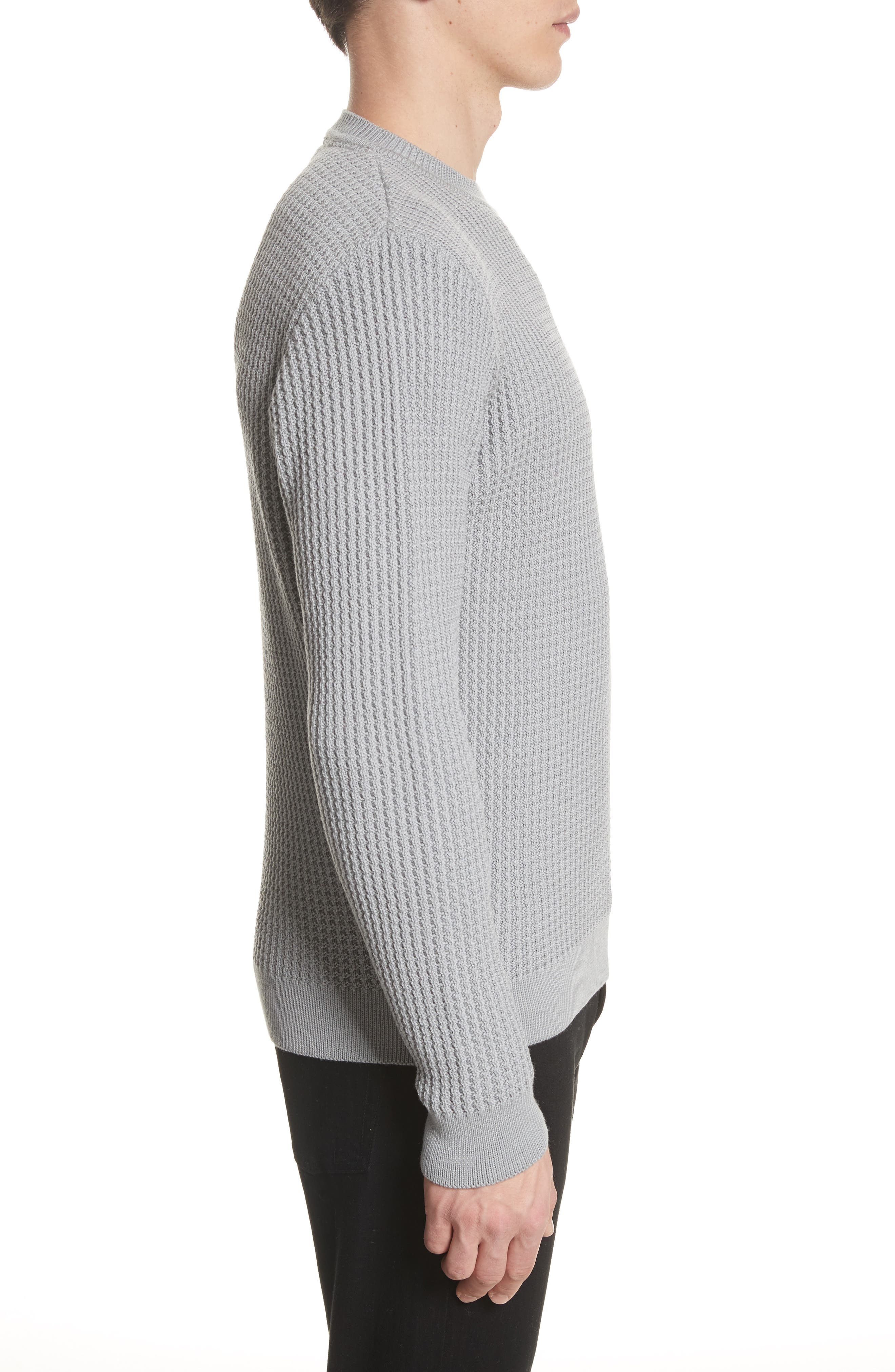 Sigfred Merino Wool Sweater,                             Alternate thumbnail 3, color,                             Titanium