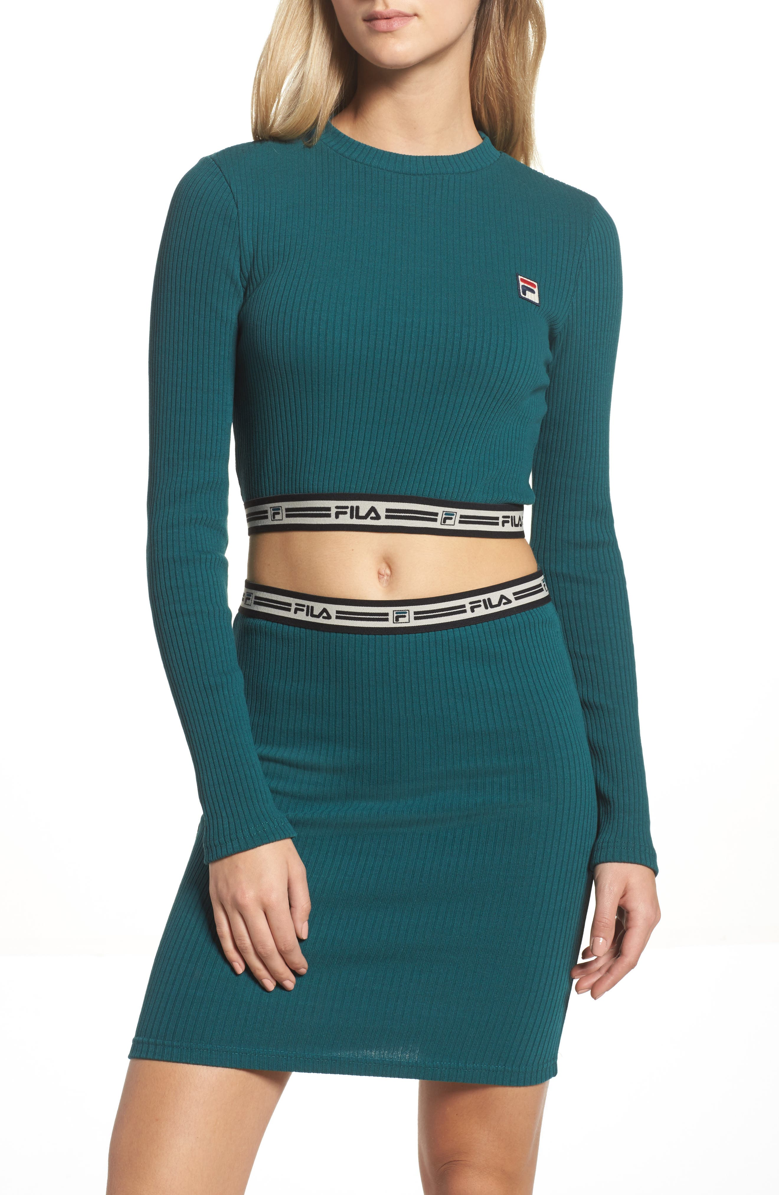 Alternate Image 1 Selected - FILA Colleen Long Sleeve Crop Top