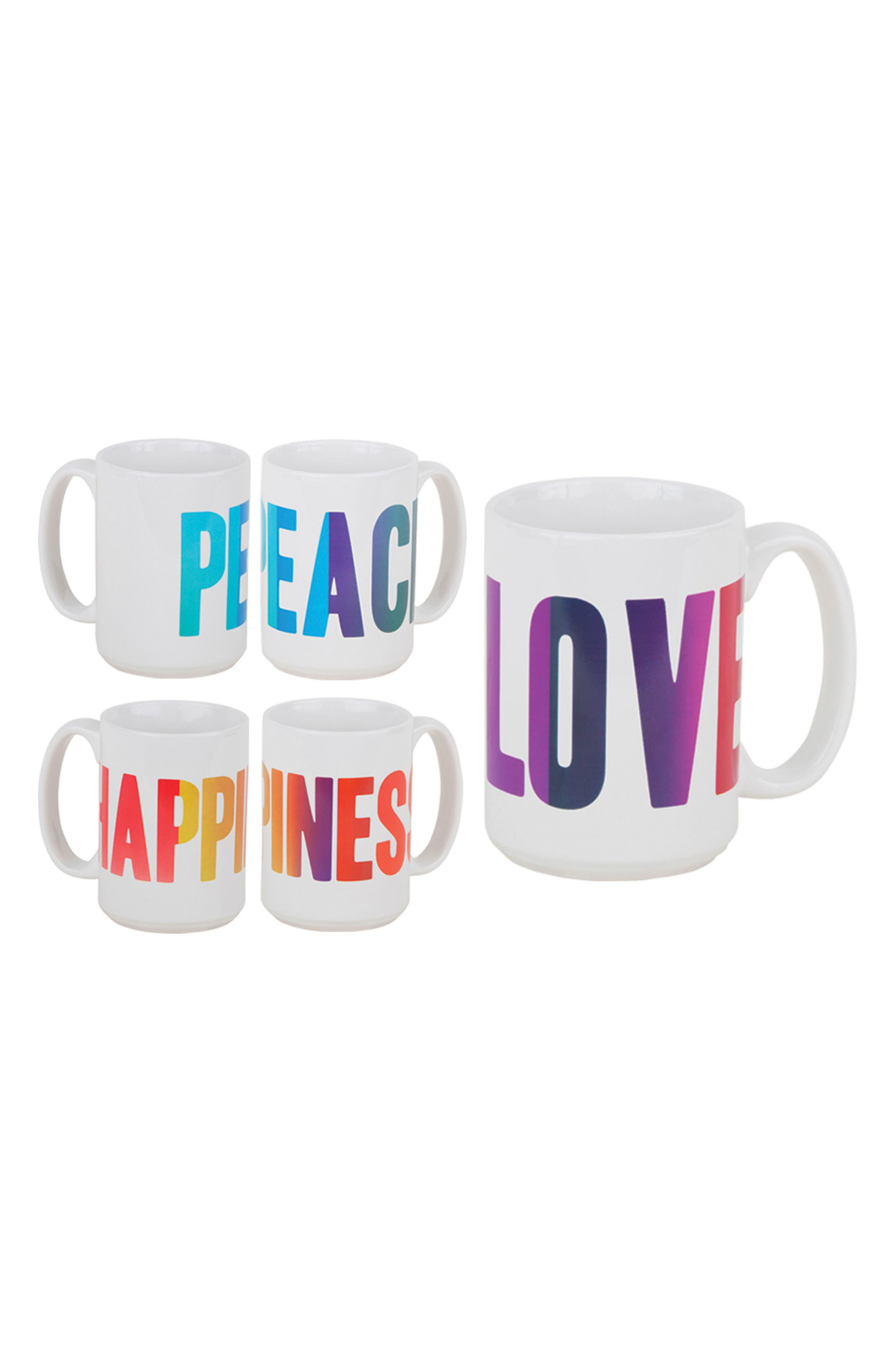 Peace Love Happiness Set of 3 Mugs,                             Main thumbnail 1, color,                             White/ Multi