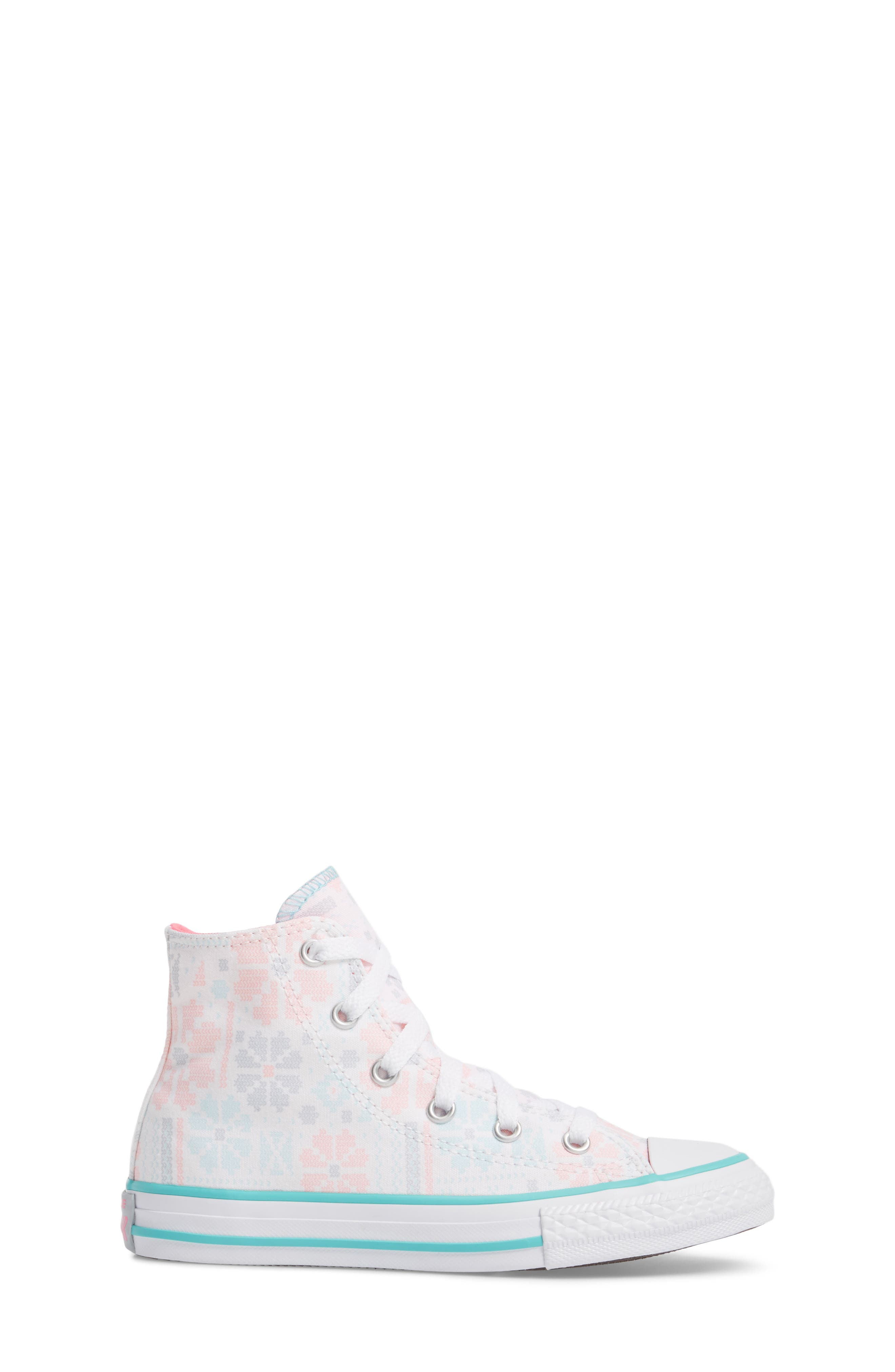 Chuck Taylor<sup>®</sup> All Star<sup>®</sup> High Top Sneaker,                             Alternate thumbnail 3, color,                             White/ Pink Canvas