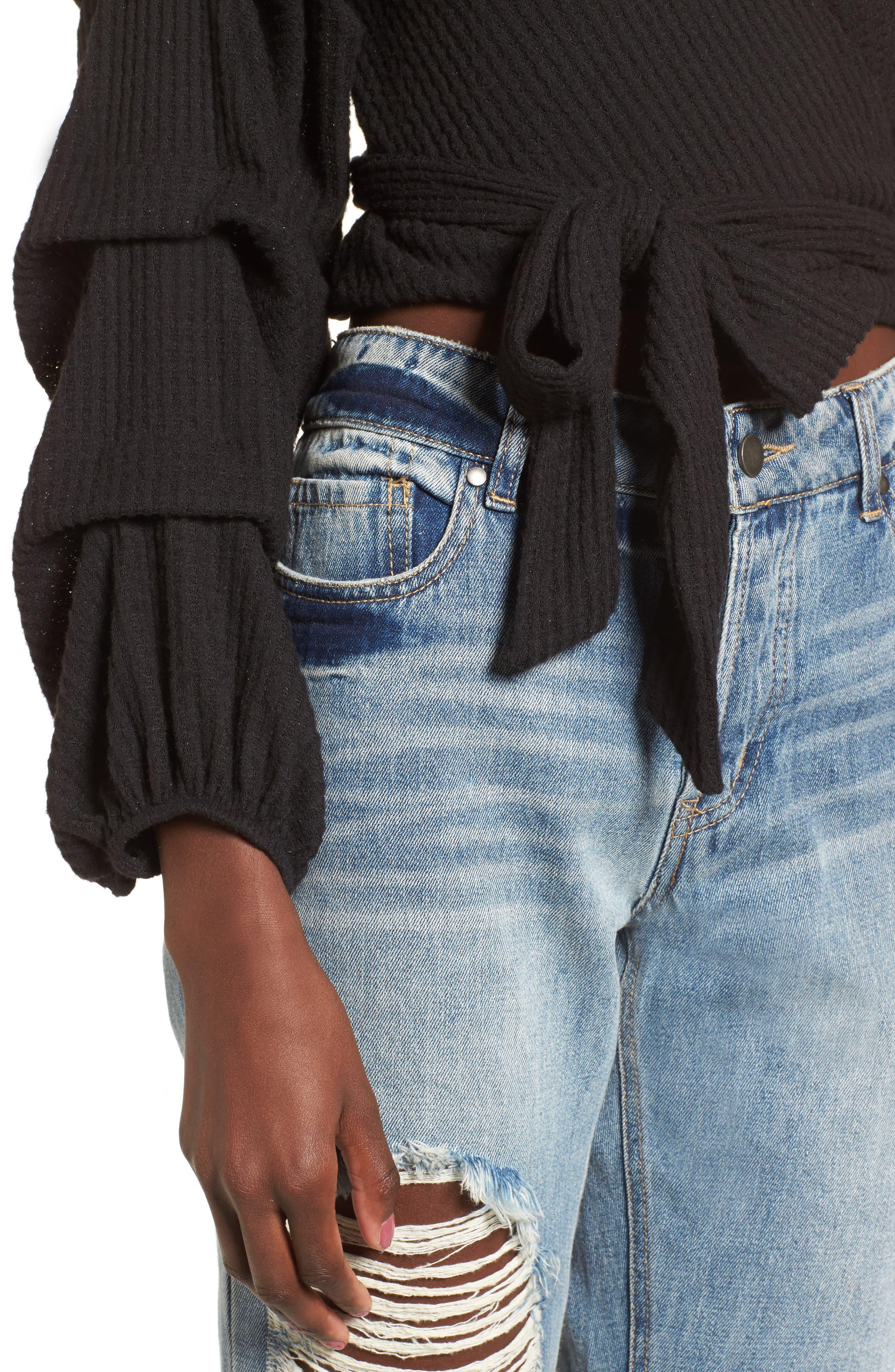 Wrap Sweater,                             Alternate thumbnail 4, color,                             Black