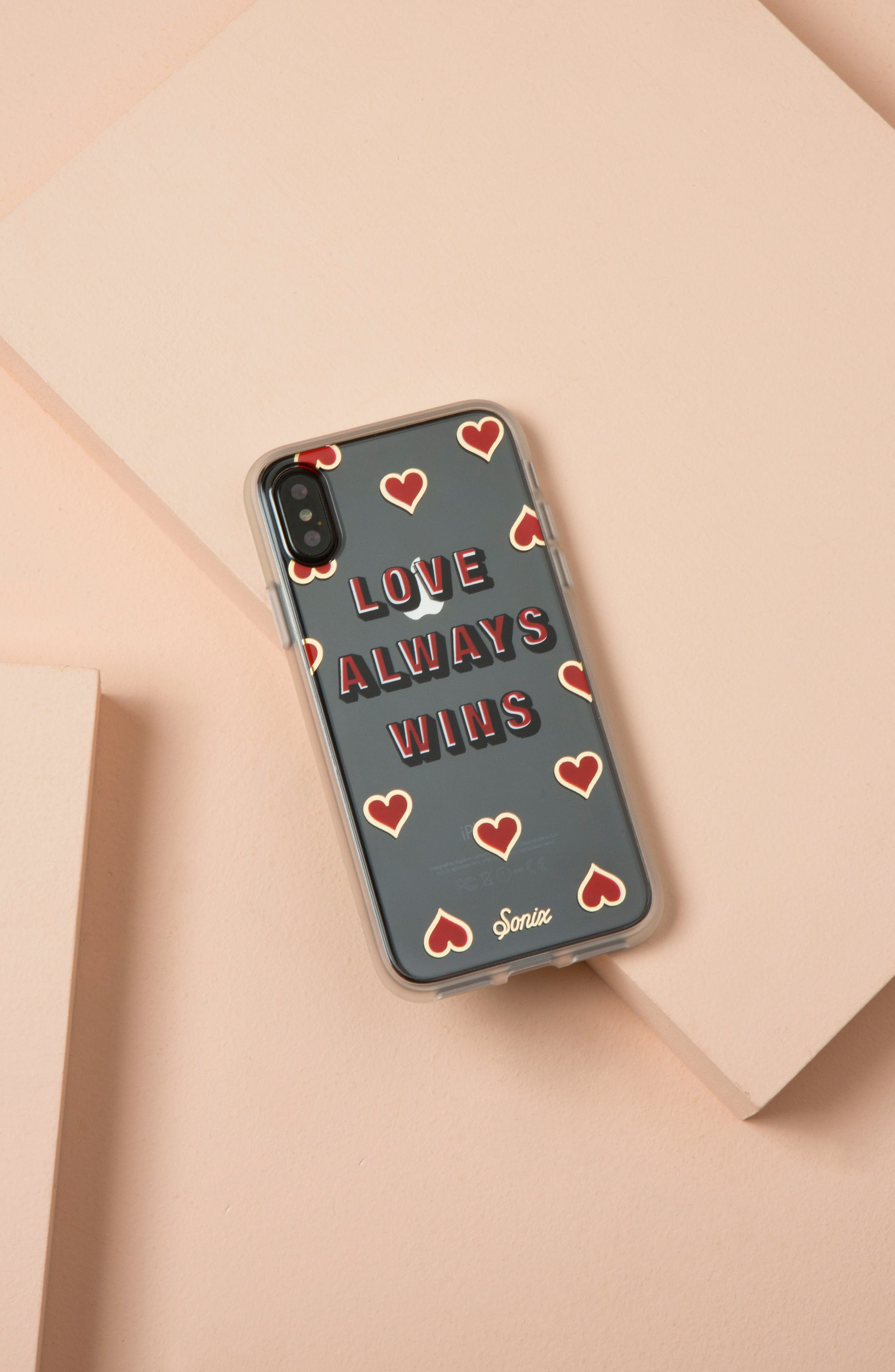 Love Always Wins iPhone X Case,                             Alternate thumbnail 3, color,                             Clear/ Red