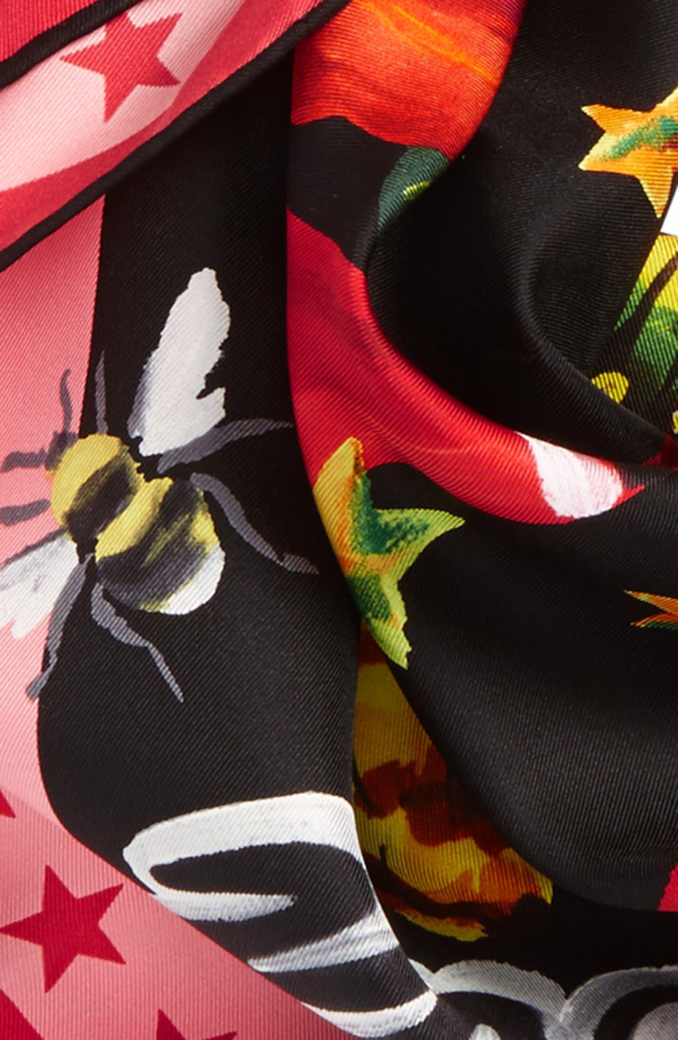 Foulard Jakam Silk Scarf,                             Alternate thumbnail 4, color,                             Black/ Pink