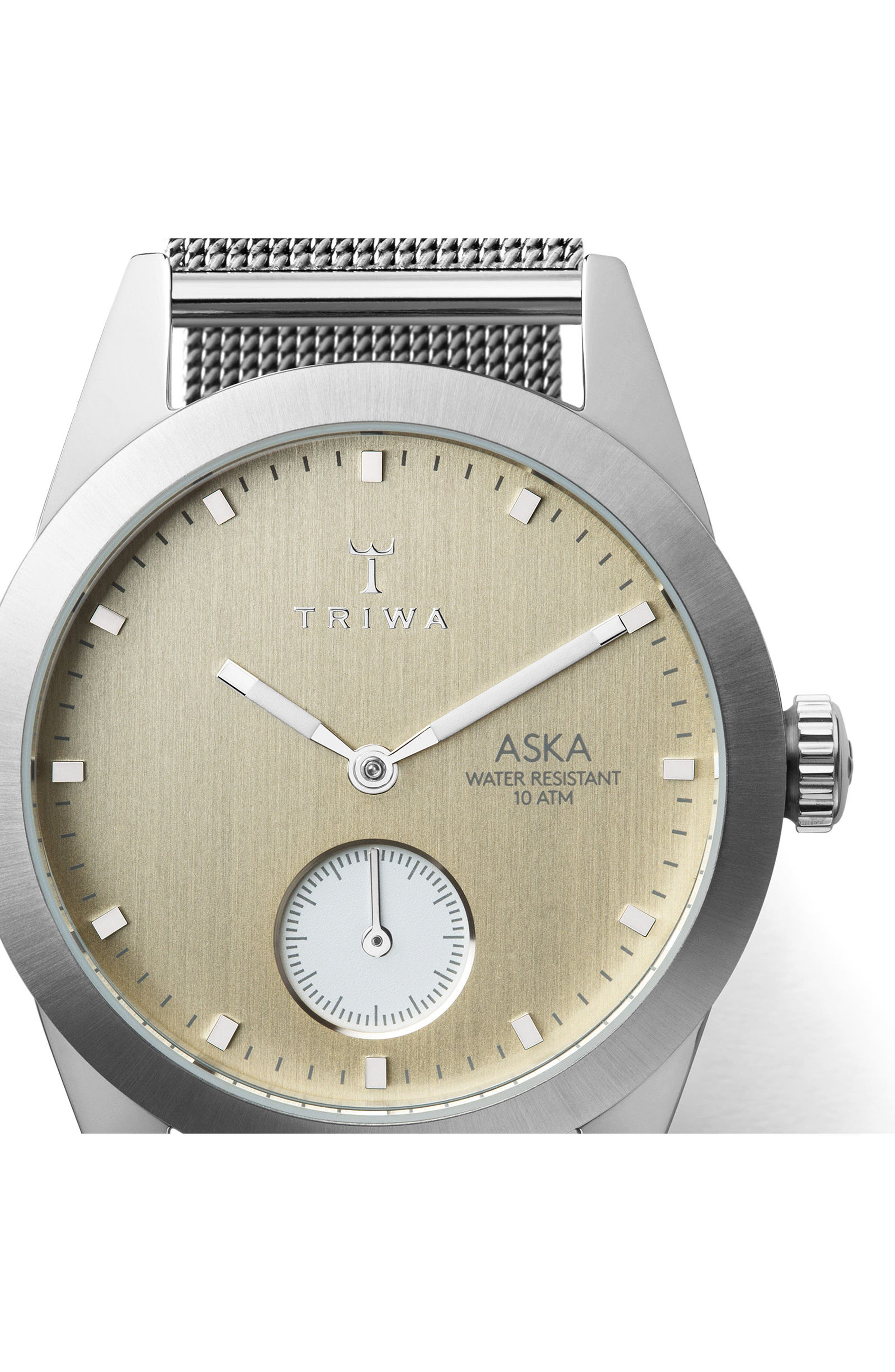 Birch Aska Super Slim Mesh Strap Watch, 32mm,                             Alternate thumbnail 2, color,                             Silver/ Gold/ Silver