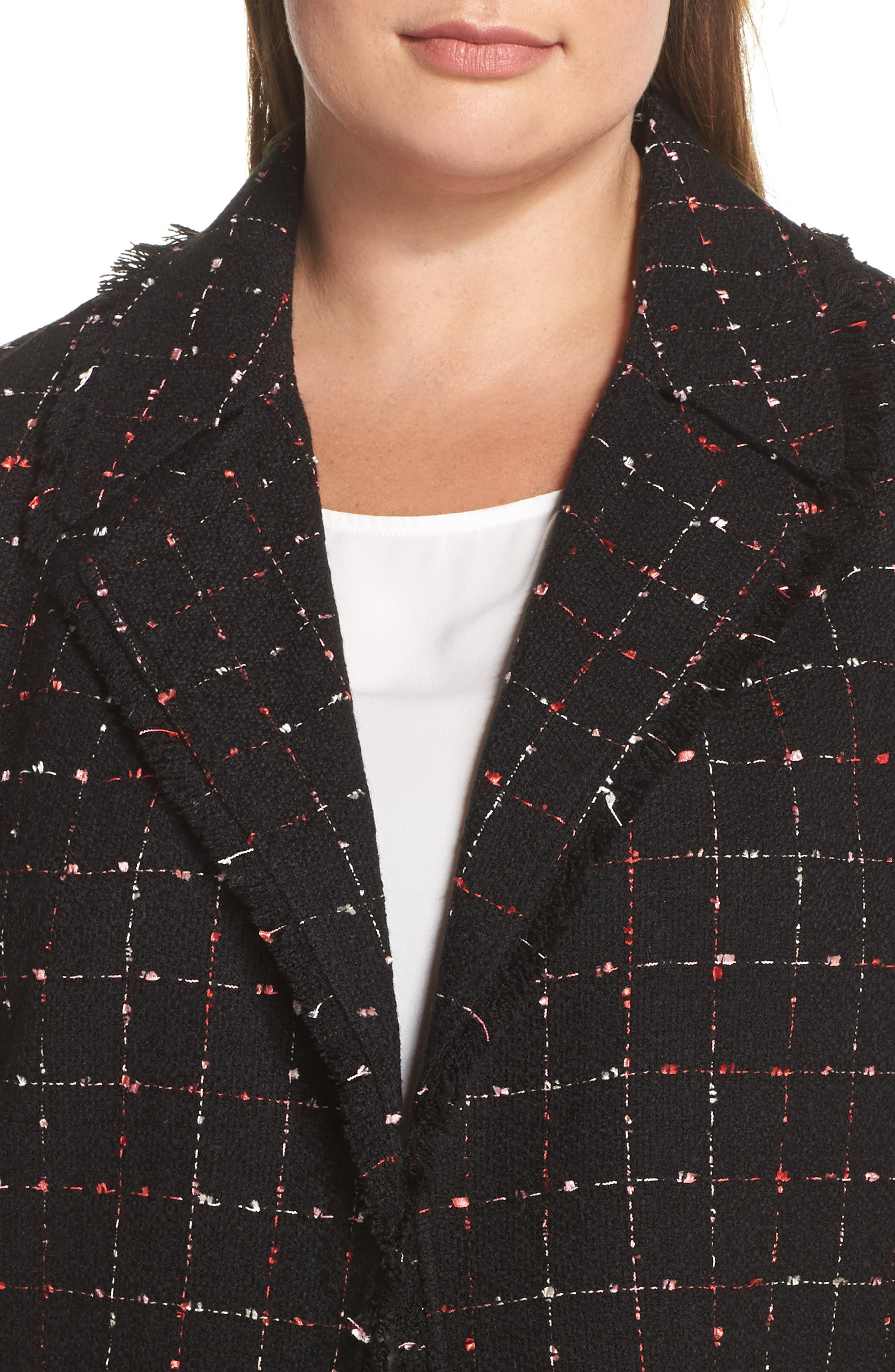 Spring Windowpane Tweed Jacket,                             Alternate thumbnail 5, color,                             Rich Black