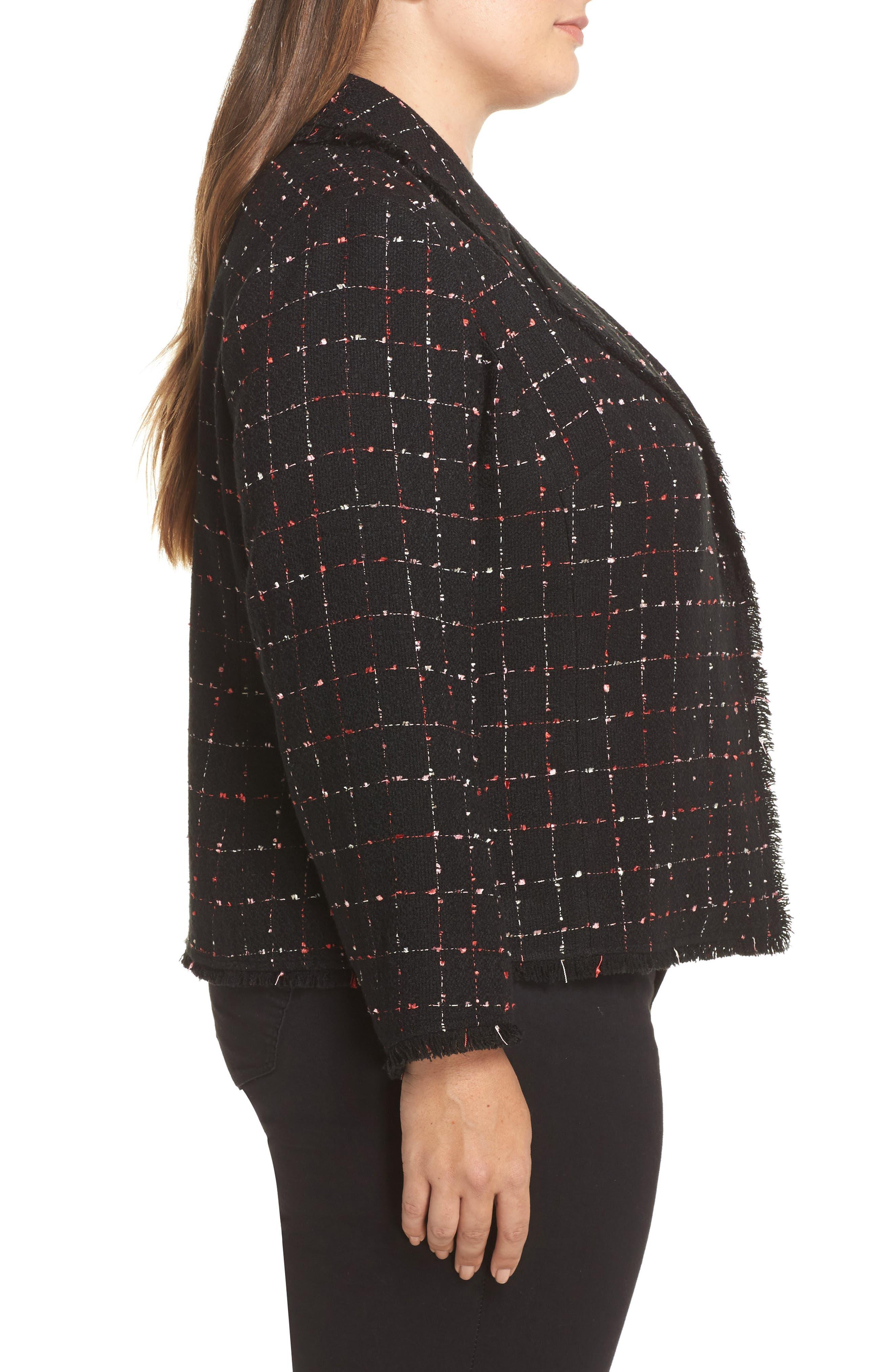 Spring Windowpane Tweed Jacket,                             Alternate thumbnail 4, color,                             Rich Black