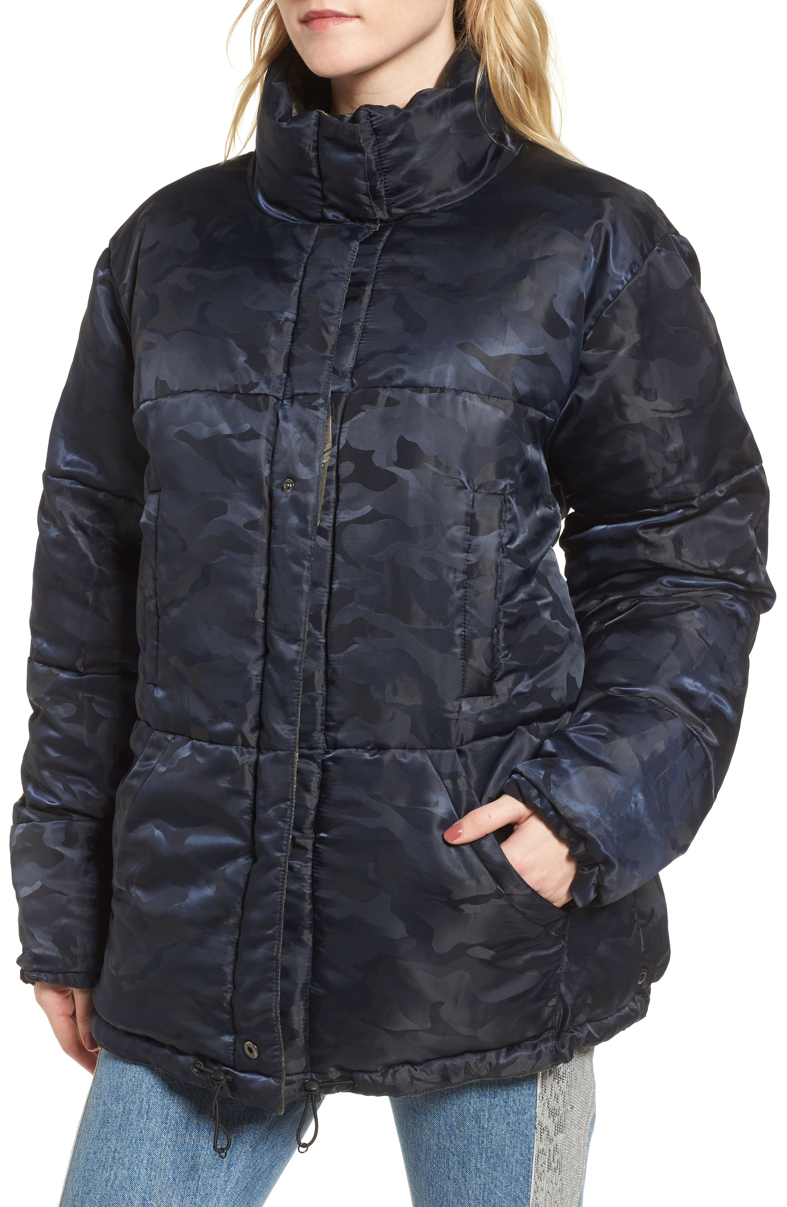 Reversible Puffer Jacket,                             Alternate thumbnail 3, color,                             Army/ Navy