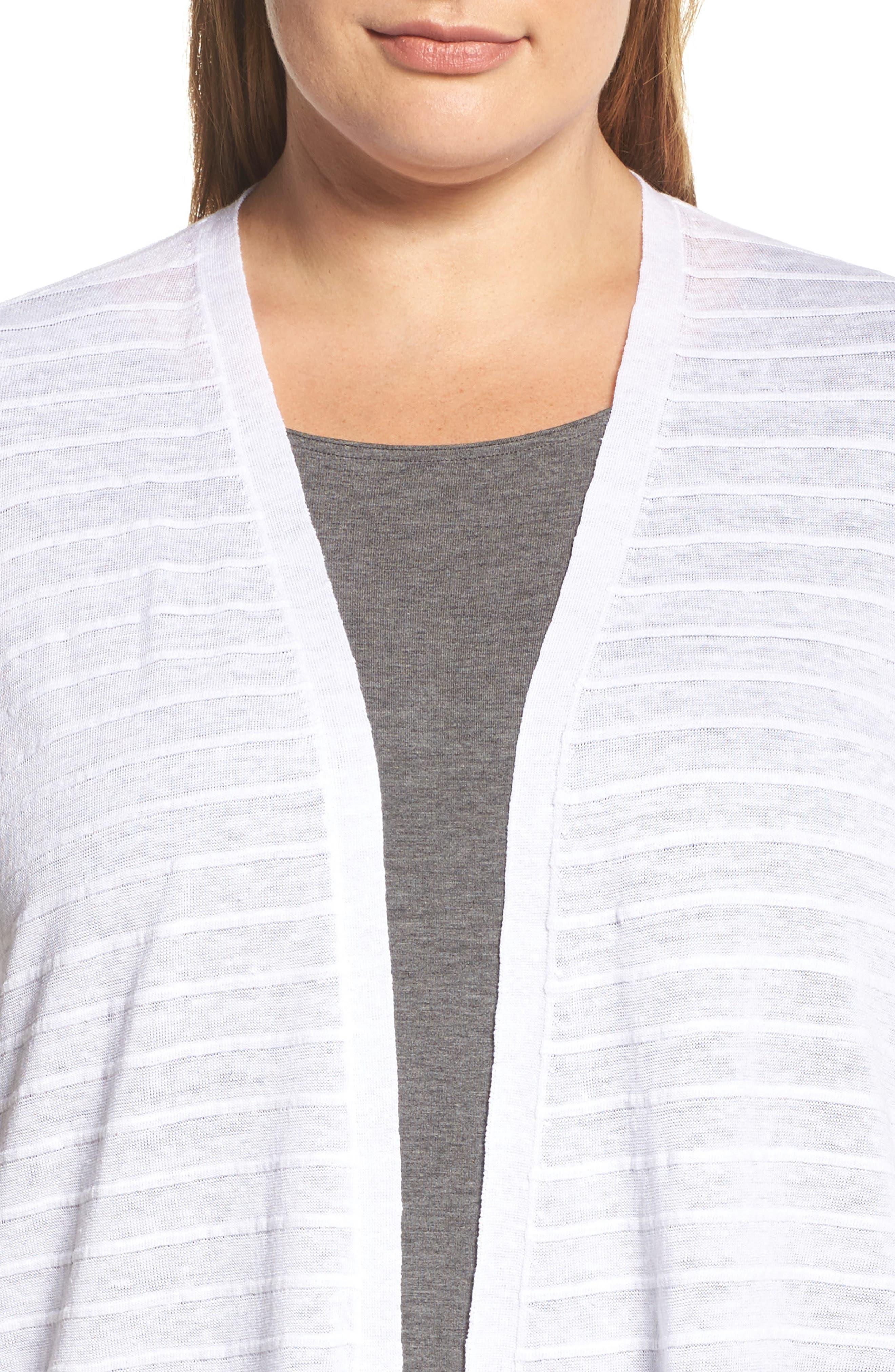 Shadow Stripe Organic Linen Cardigan,                             Alternate thumbnail 4, color,                             White