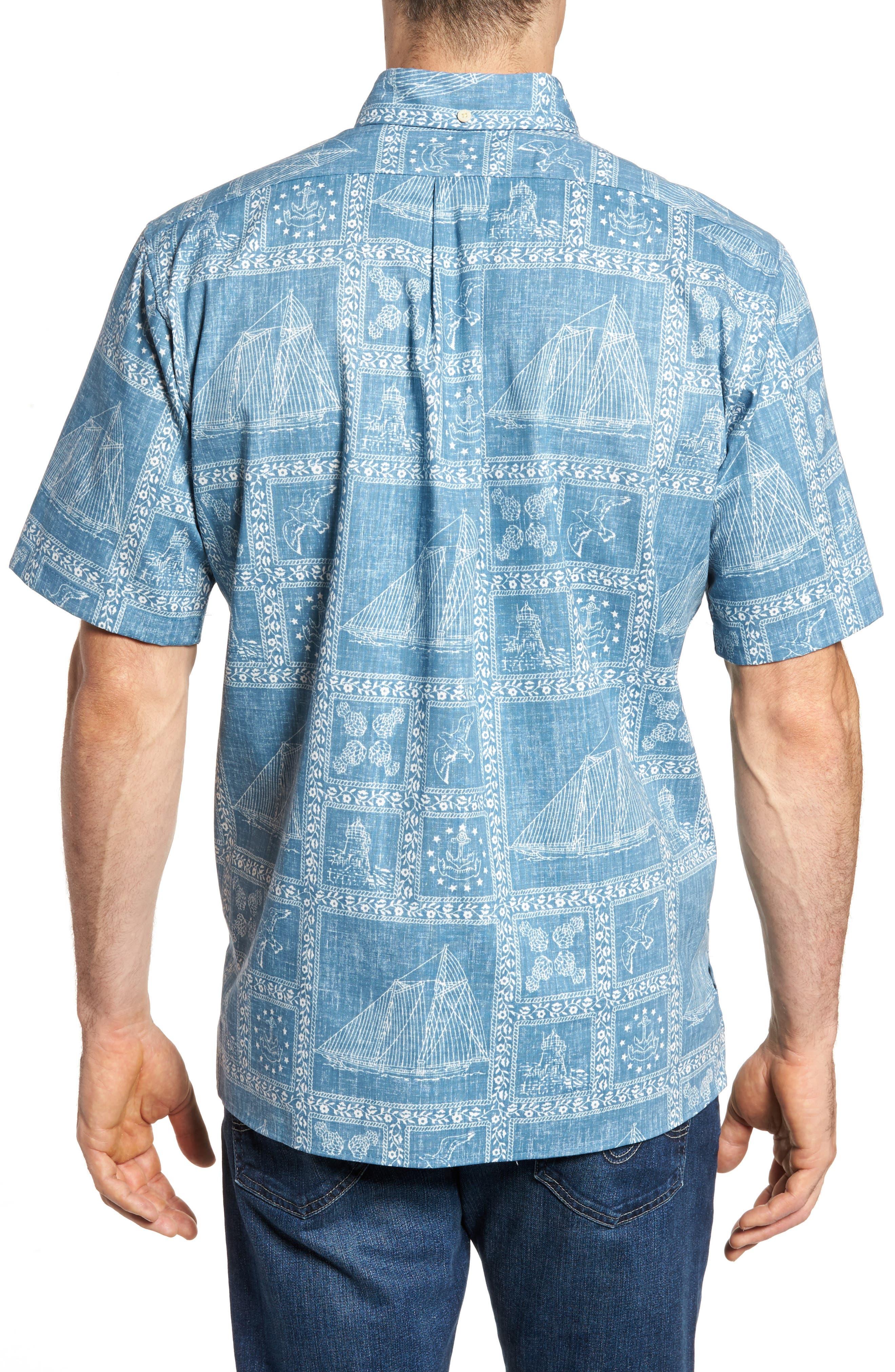 Newport Sailor Classic Fit Print Sport Shirt,                             Alternate thumbnail 2, color,                             Denim