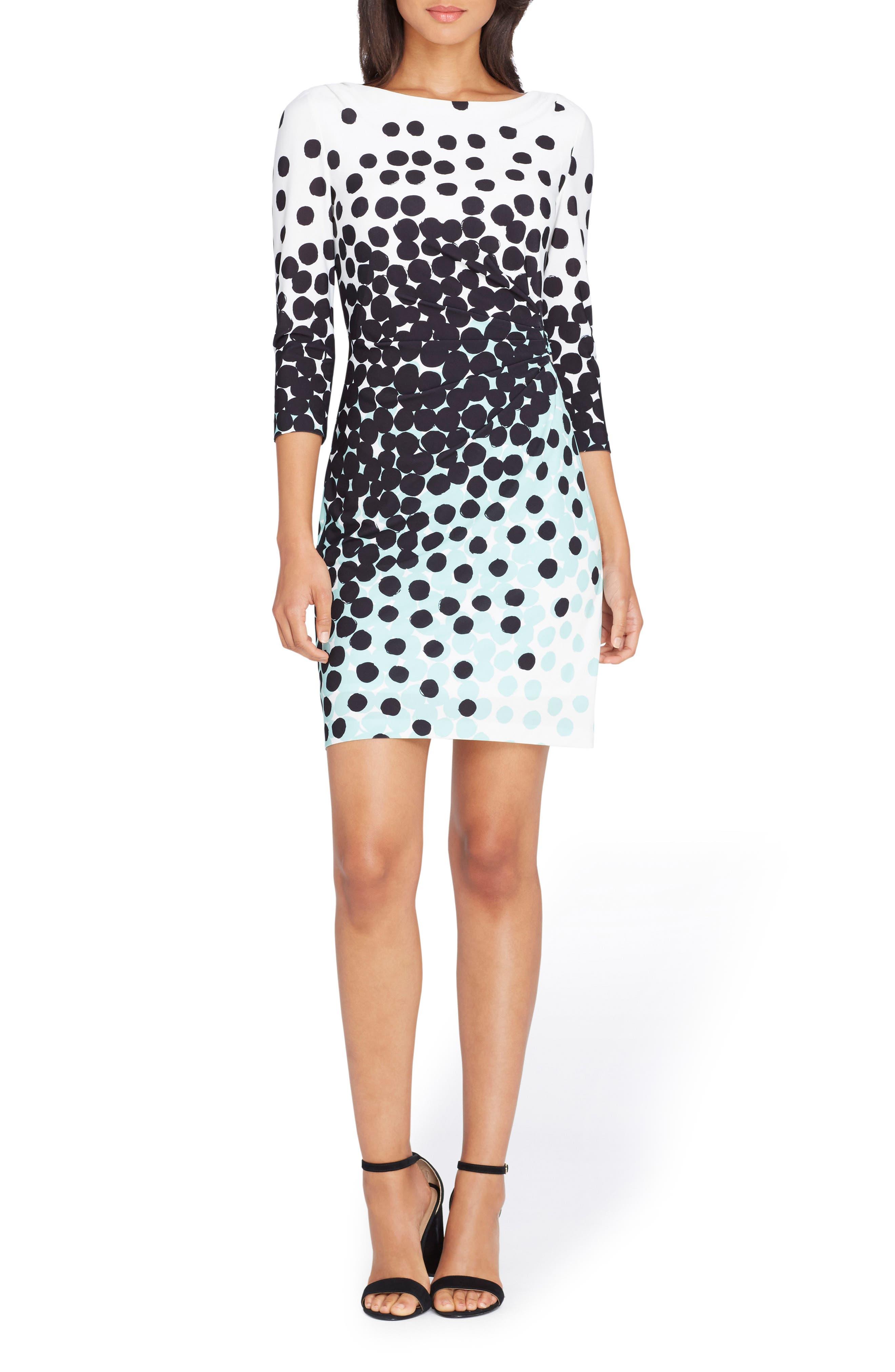 Dot Sheath Dress,                         Main,                         color, Ivory/ Black/ Mint
