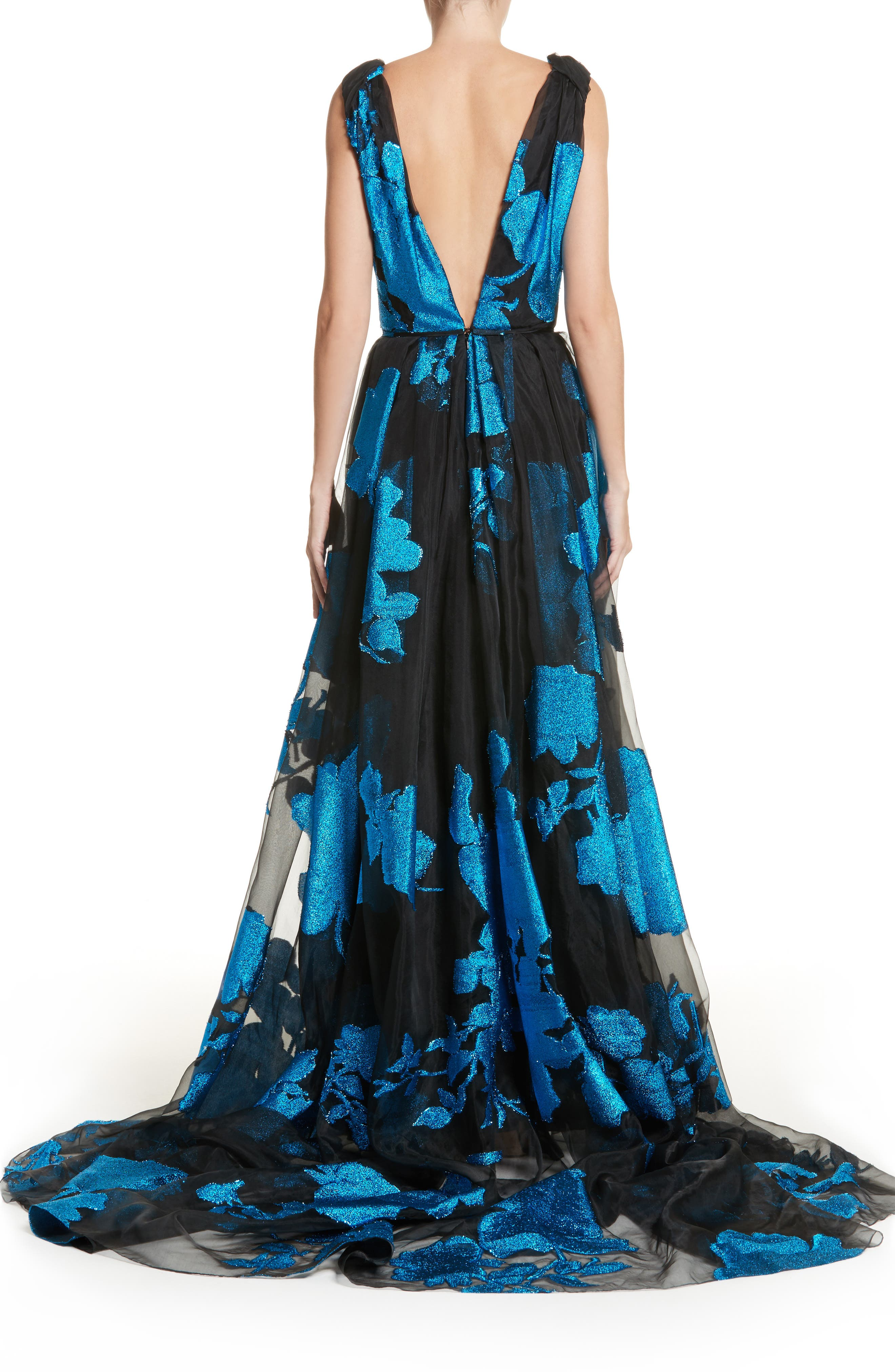 Metallic Floral Chiffon Gown,                             Alternate thumbnail 3, color,                             Cerulean/ Black