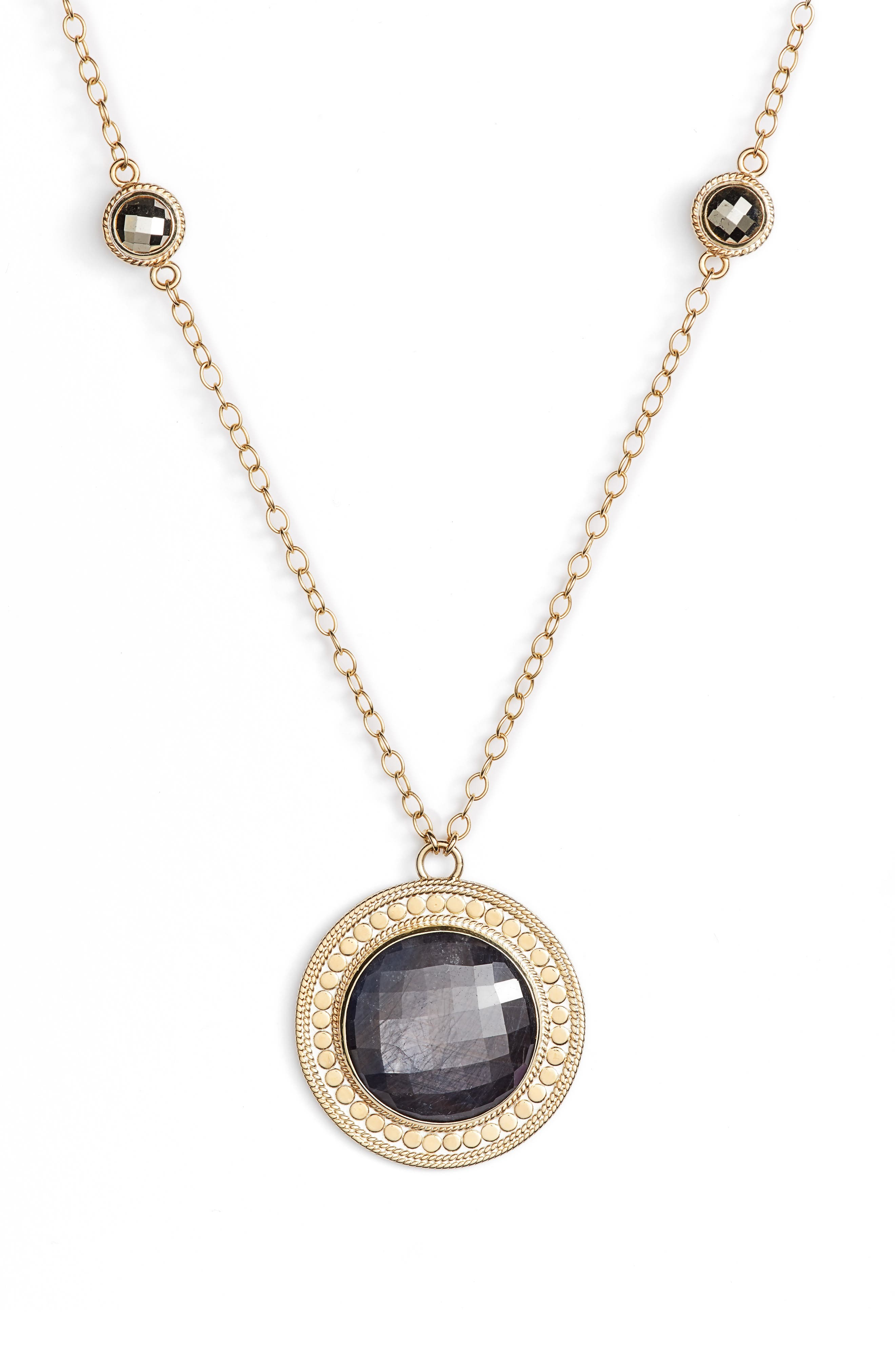 Alternate Image 2  - Anna Beck Grey Sapphire & Pyrite Long Pendant Necklace