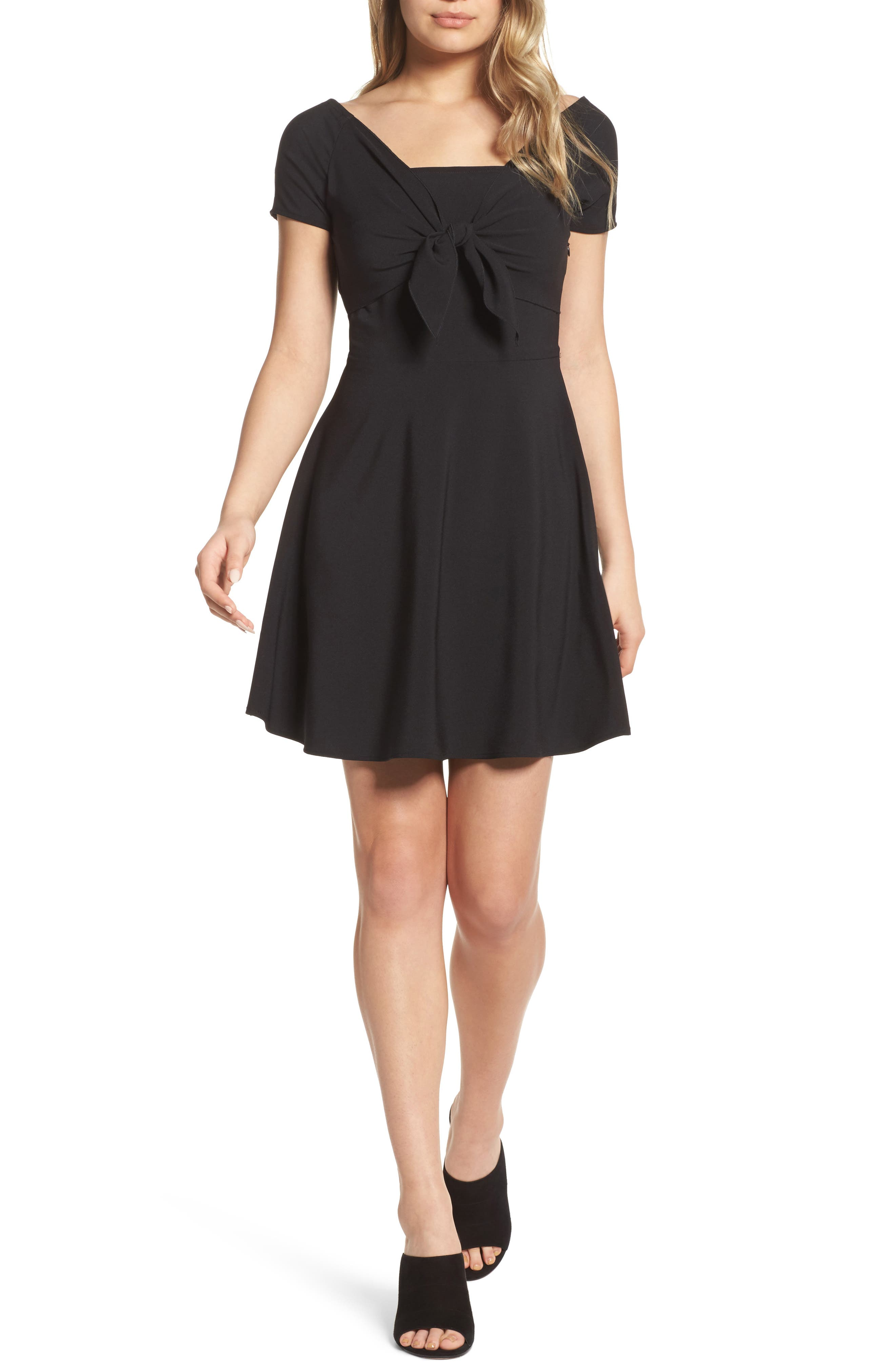 Main Image - NSR Tie Front Crepe Fit & Flare Dress