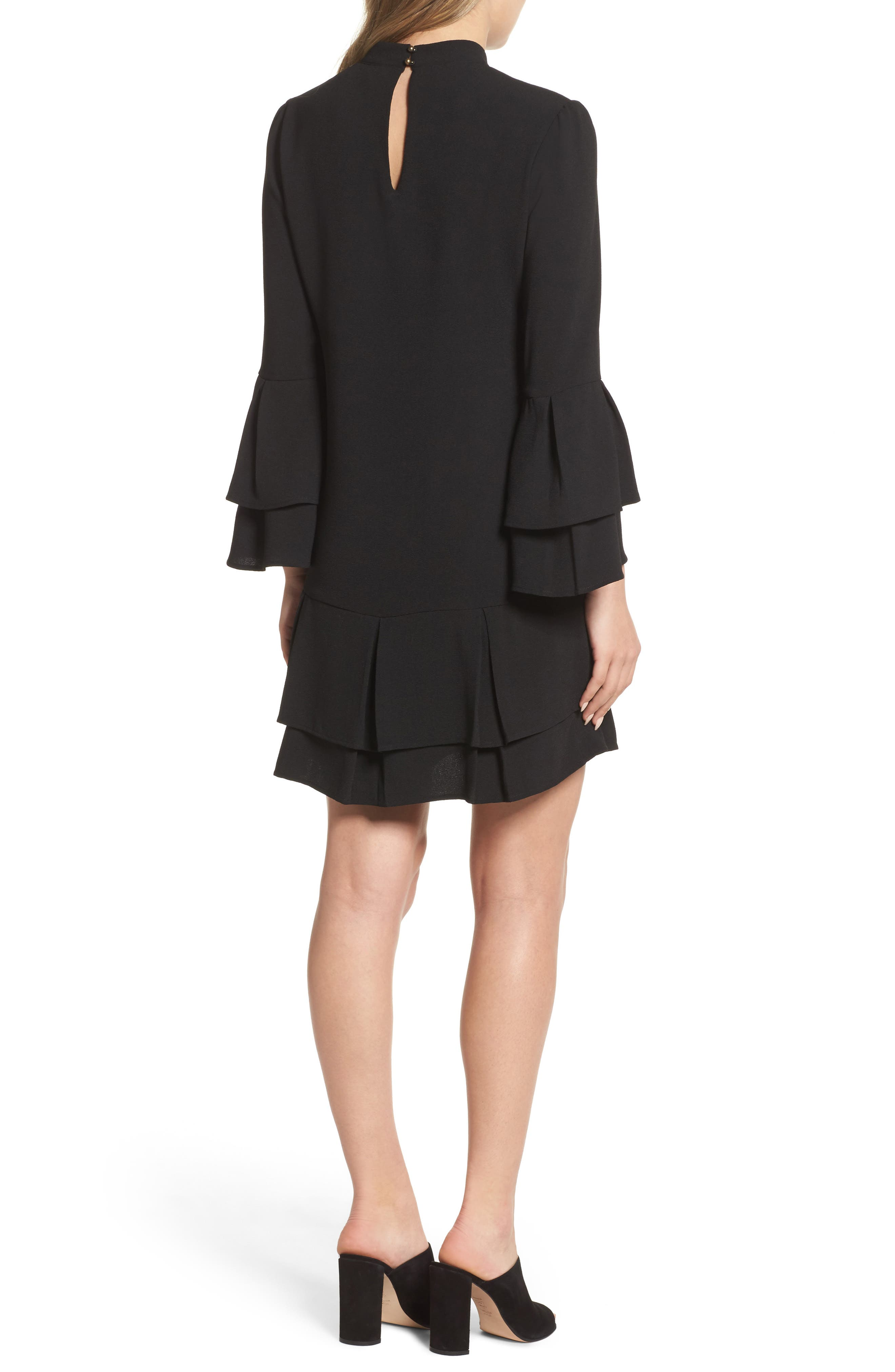 Tiered Sleeve Shift Dress,                             Alternate thumbnail 2, color,                             Black