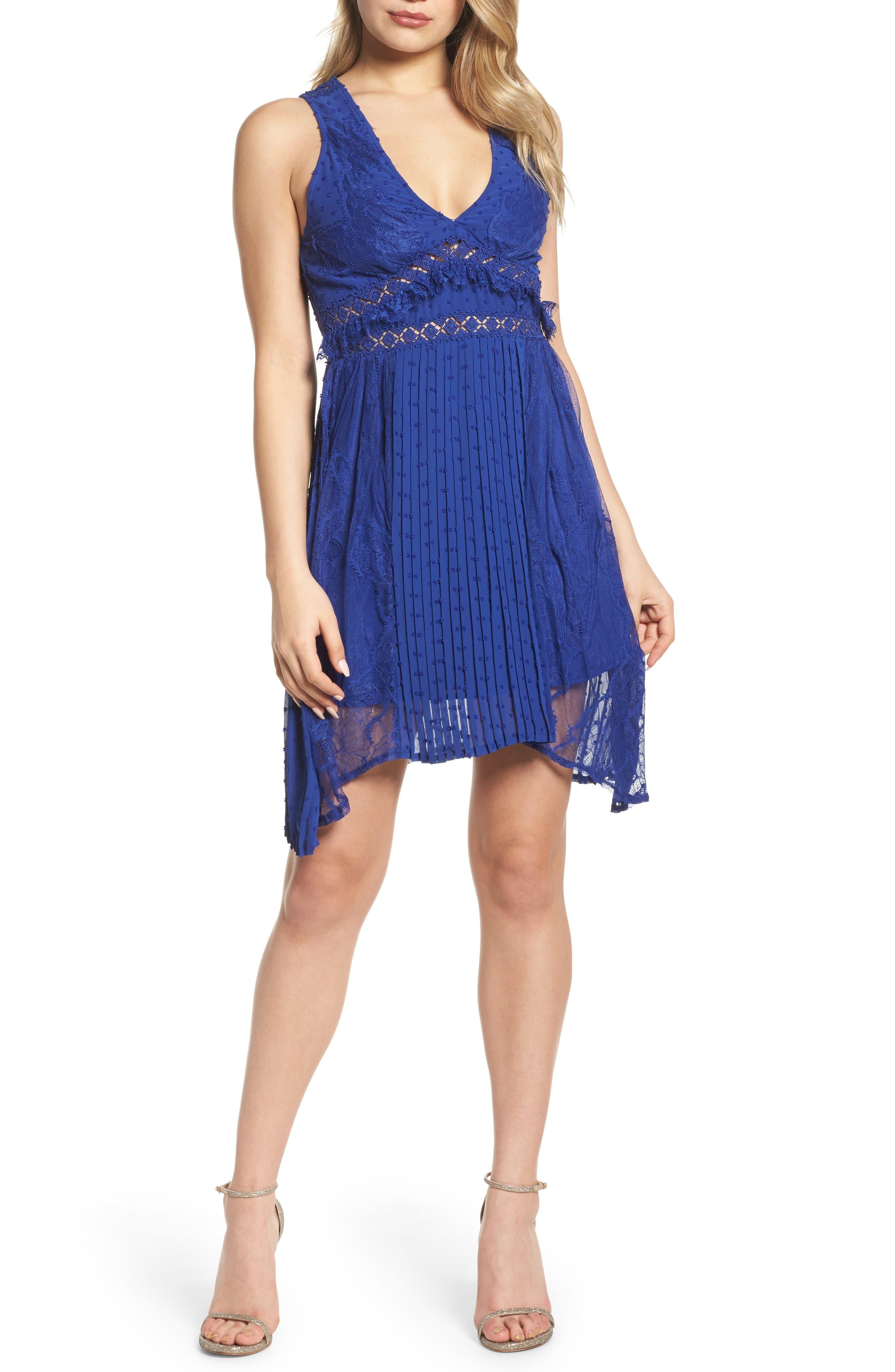 Babette Lace Inset Party Dress,                             Main thumbnail 1, color,                             Navy