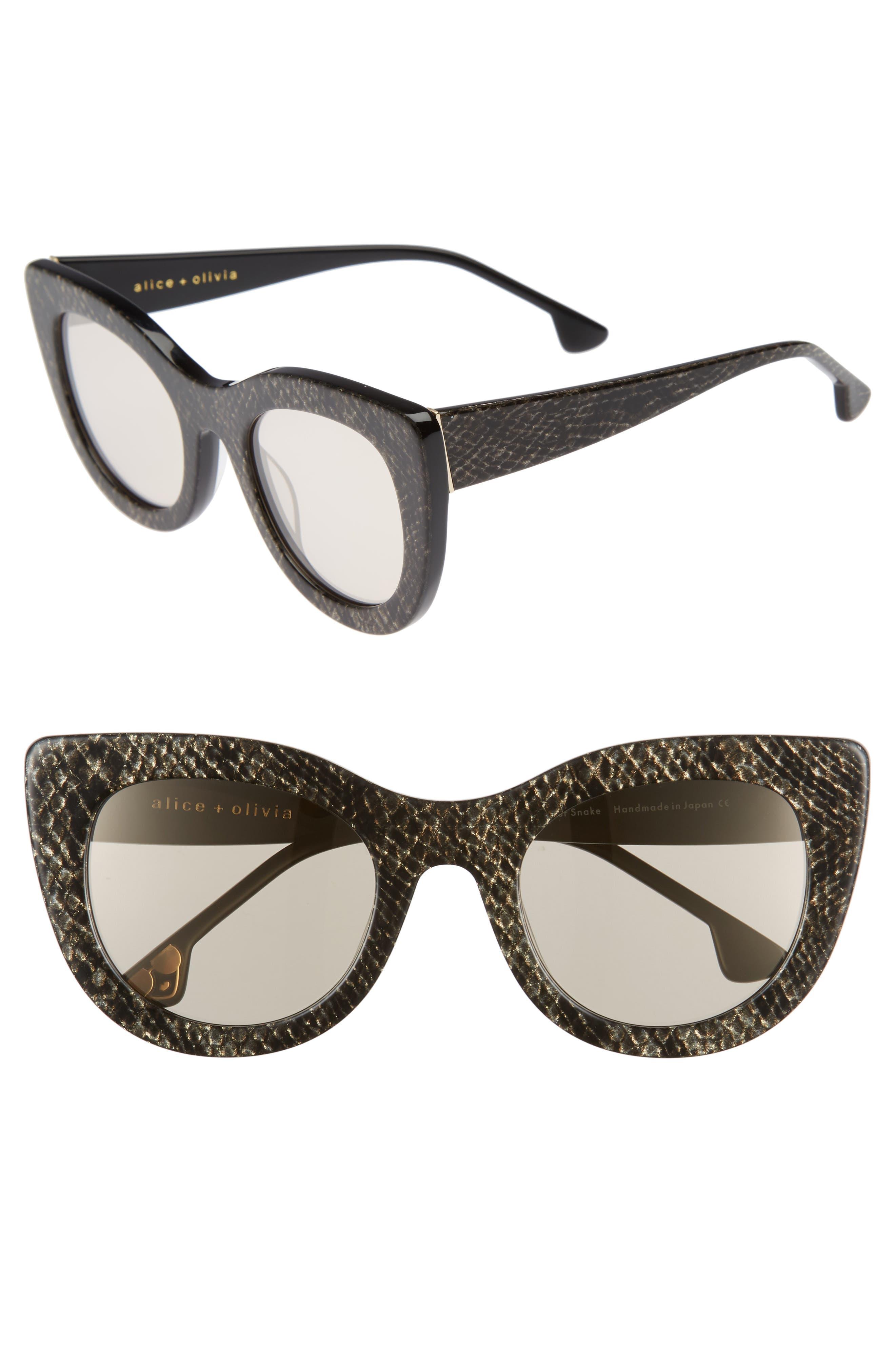 Delancey 51mm Cat Eye Sunglasses,                             Main thumbnail 1, color,                             Silver Snake