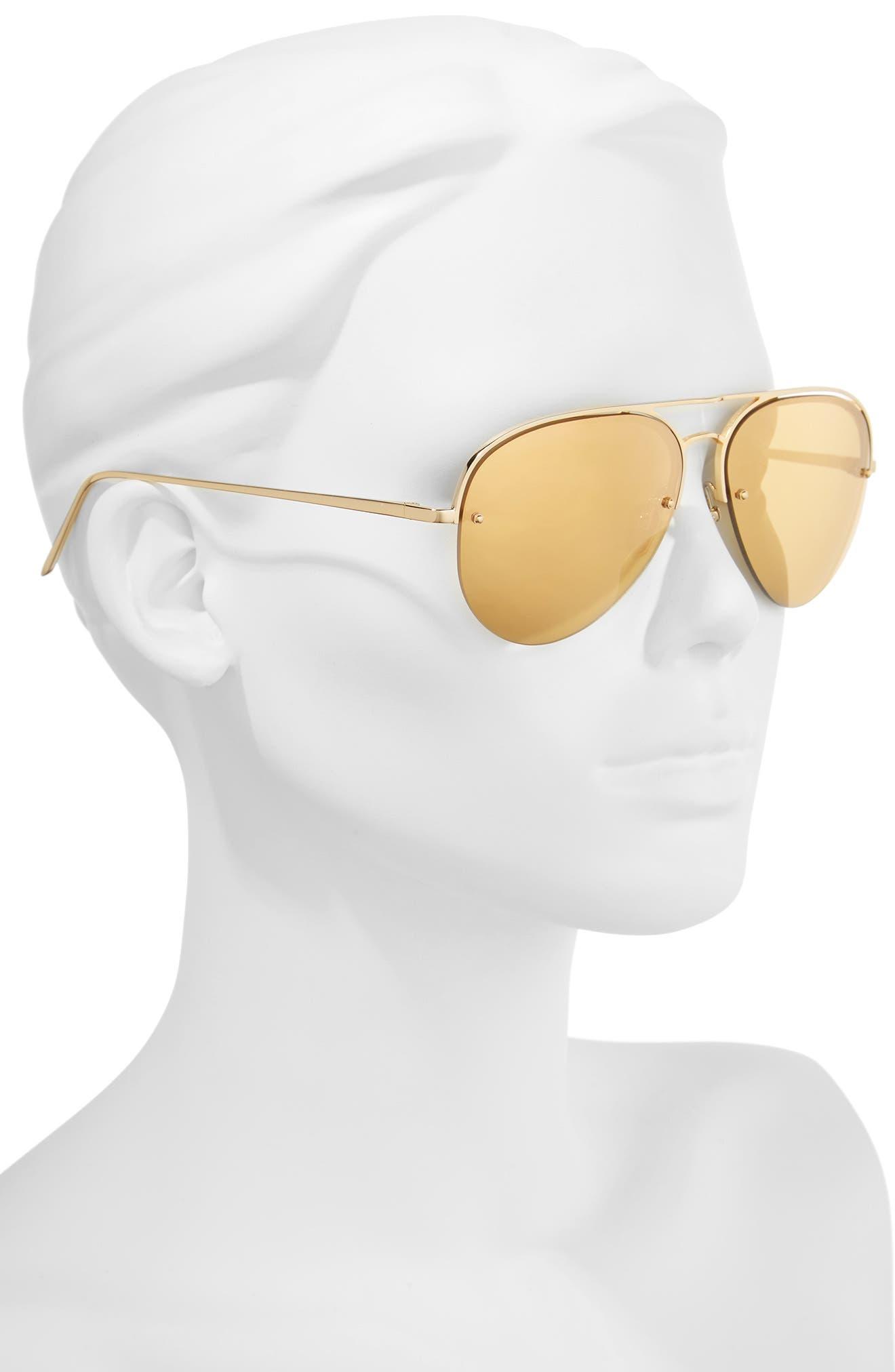 Alternate Image 2  - Linda Farrow 60mm Mirrored 22 Karat Gold Aviator Sunglasses