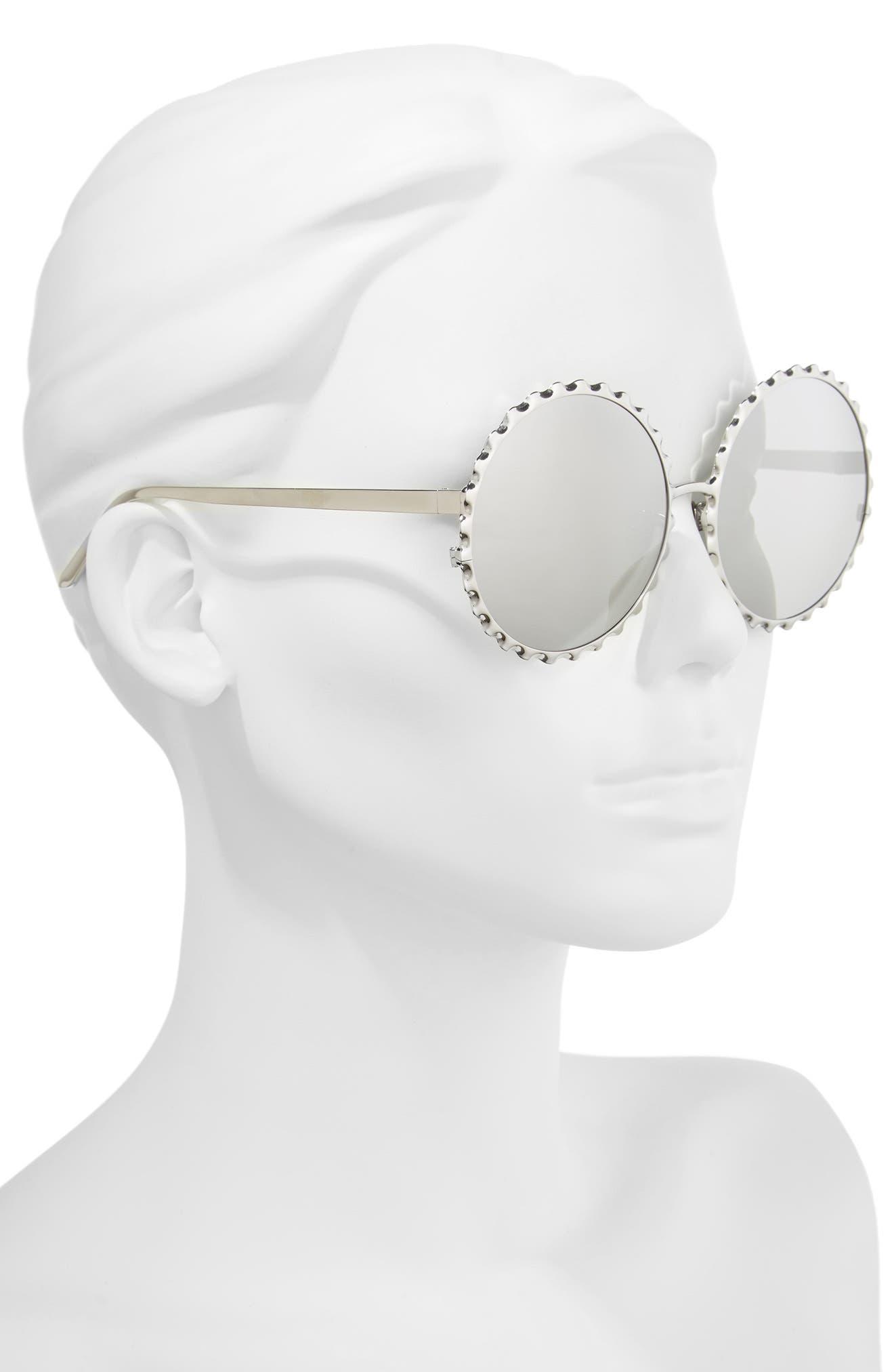 59mm Mirrored 18 Karat Gold Trim Round Sunglasses,                             Alternate thumbnail 2, color,                             White Gold/ Platinum