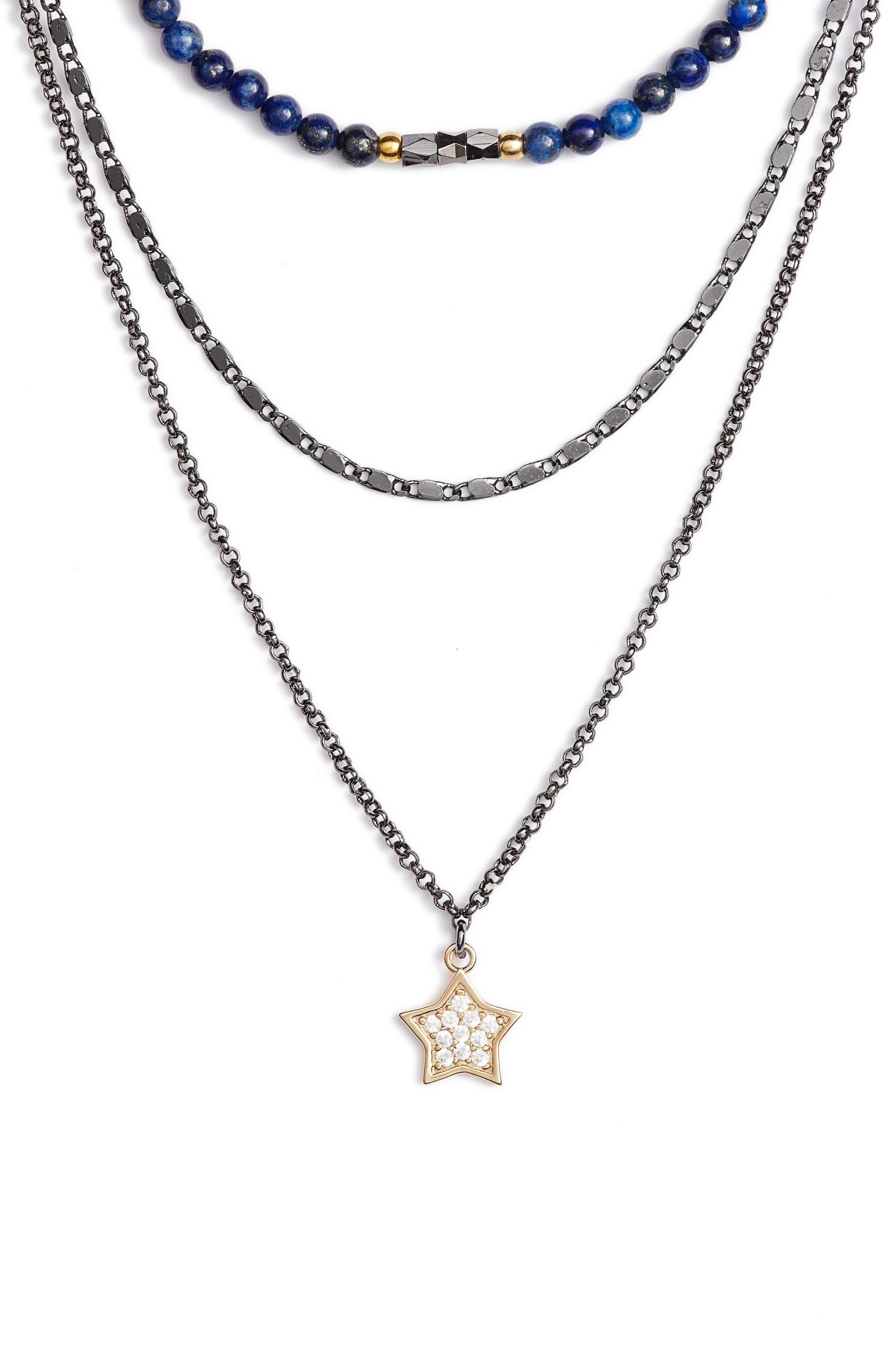 Star Charm Layered Necklace,                         Main,                         color, Blue