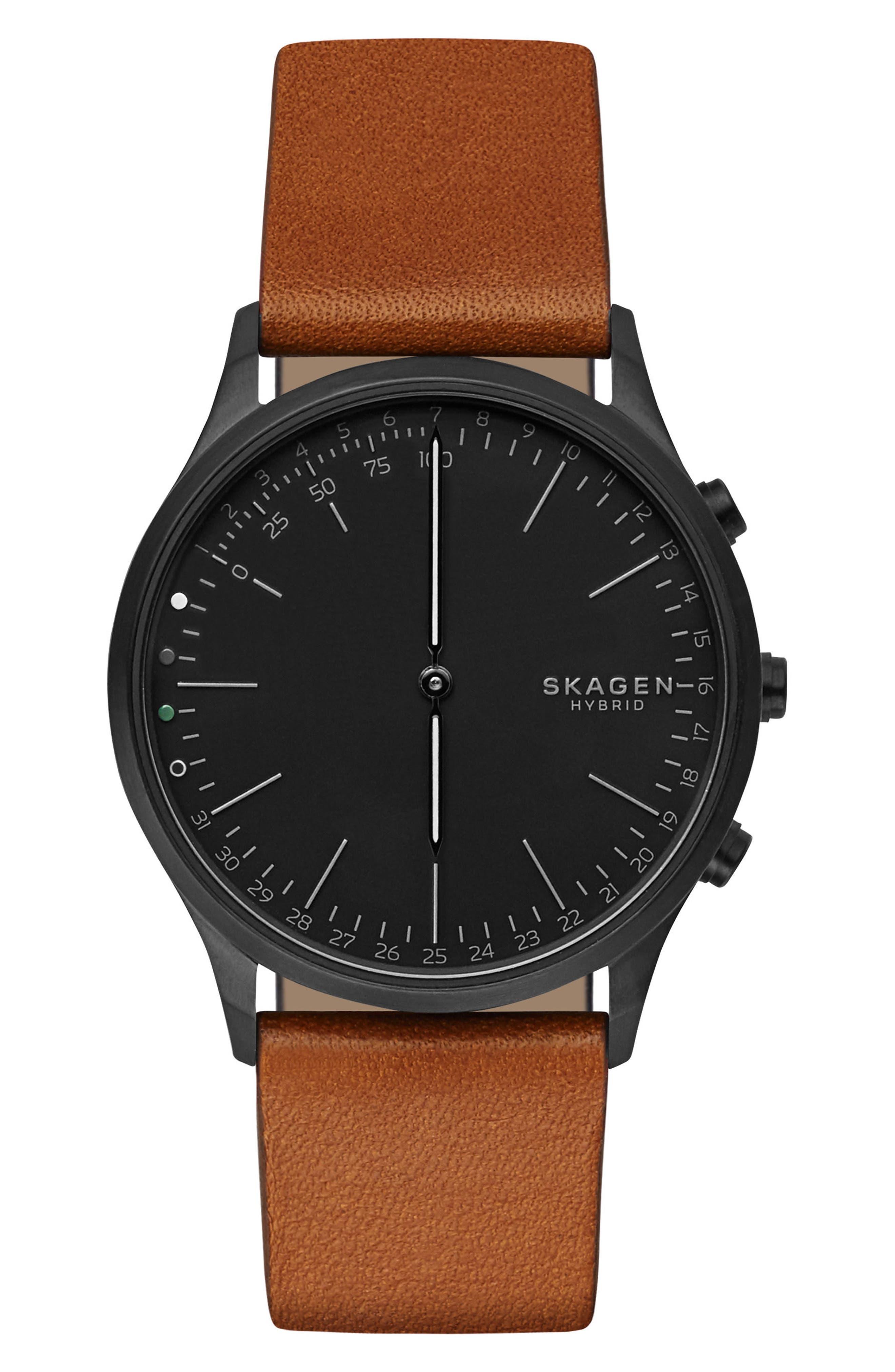 Jorn Hybrid Leather Strap Smart Watch, 41mm,                         Main,                         color, Brown/ Blue/ Black