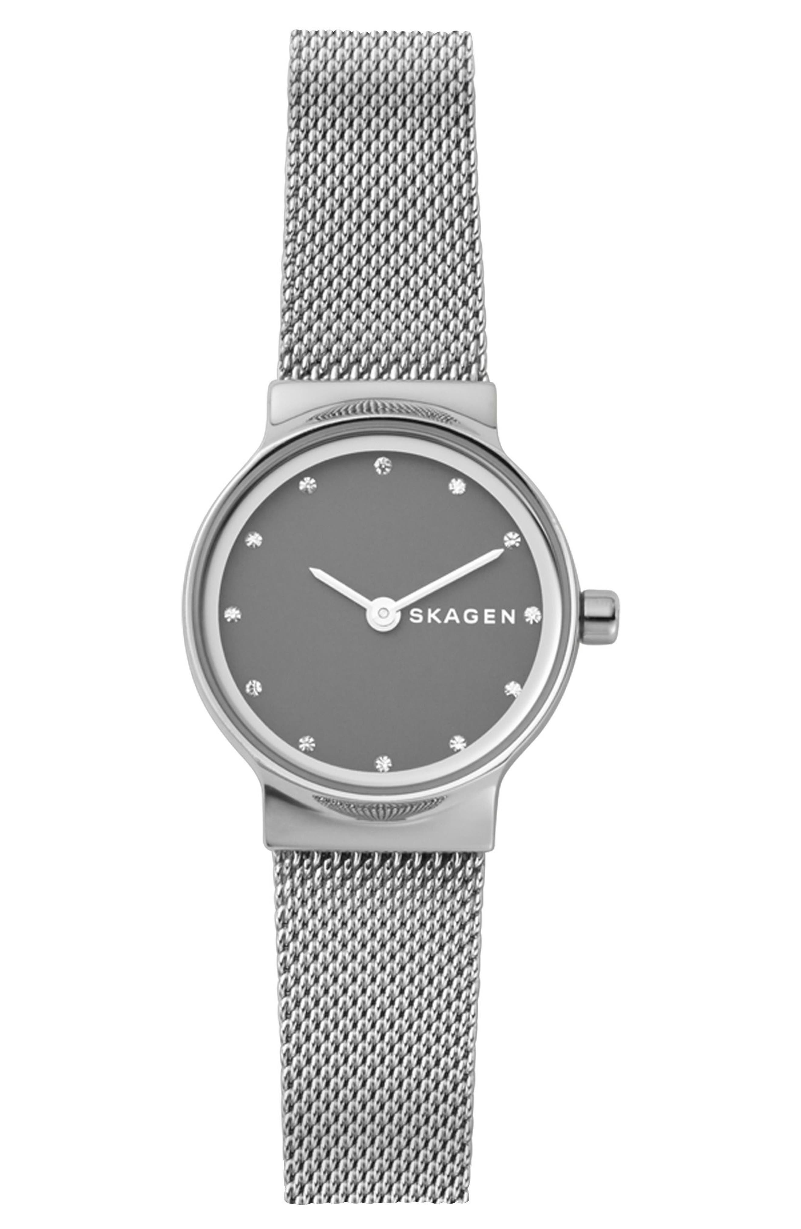 Freja Crystal Accent Mesh Strap Watch, 26mm,                             Main thumbnail 1, color,                             Silver/ Grey/ Silver