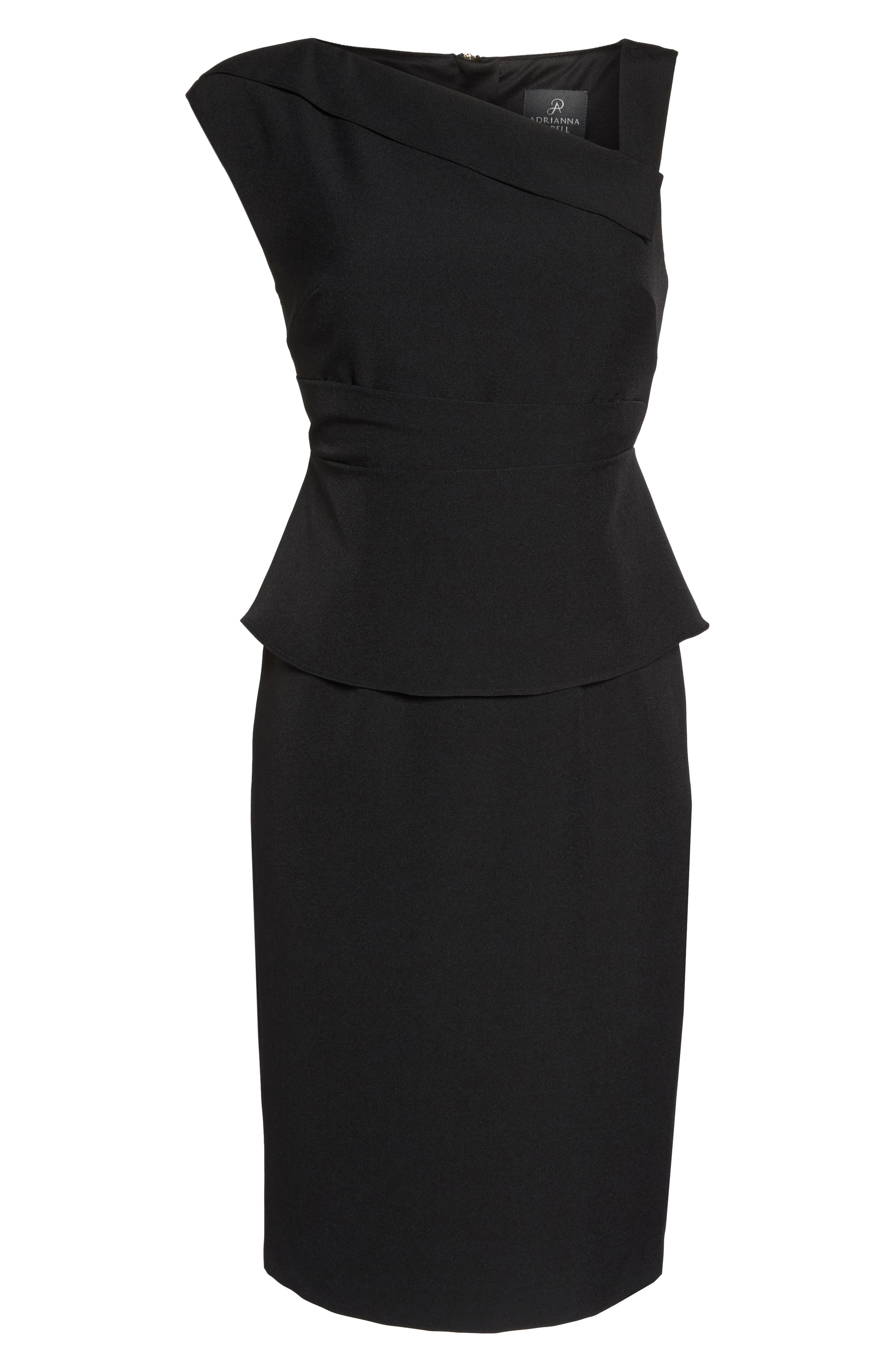 Crepe Sheath Dress,                             Main thumbnail 1, color,                             Black