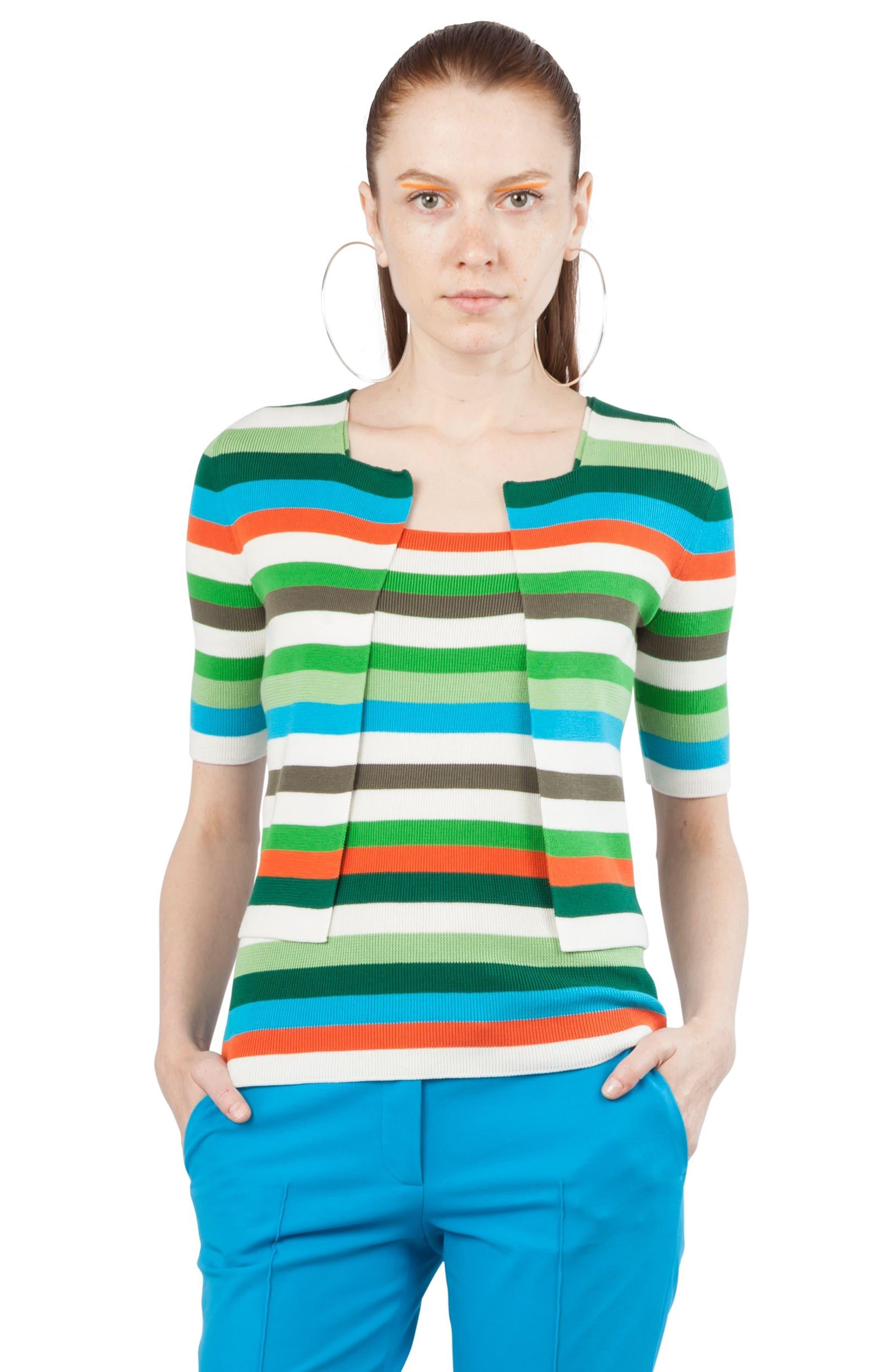 Multicolor Stripe Knit Tank,                             Alternate thumbnail 3, color,                             Navy / Turquoise / Papaya