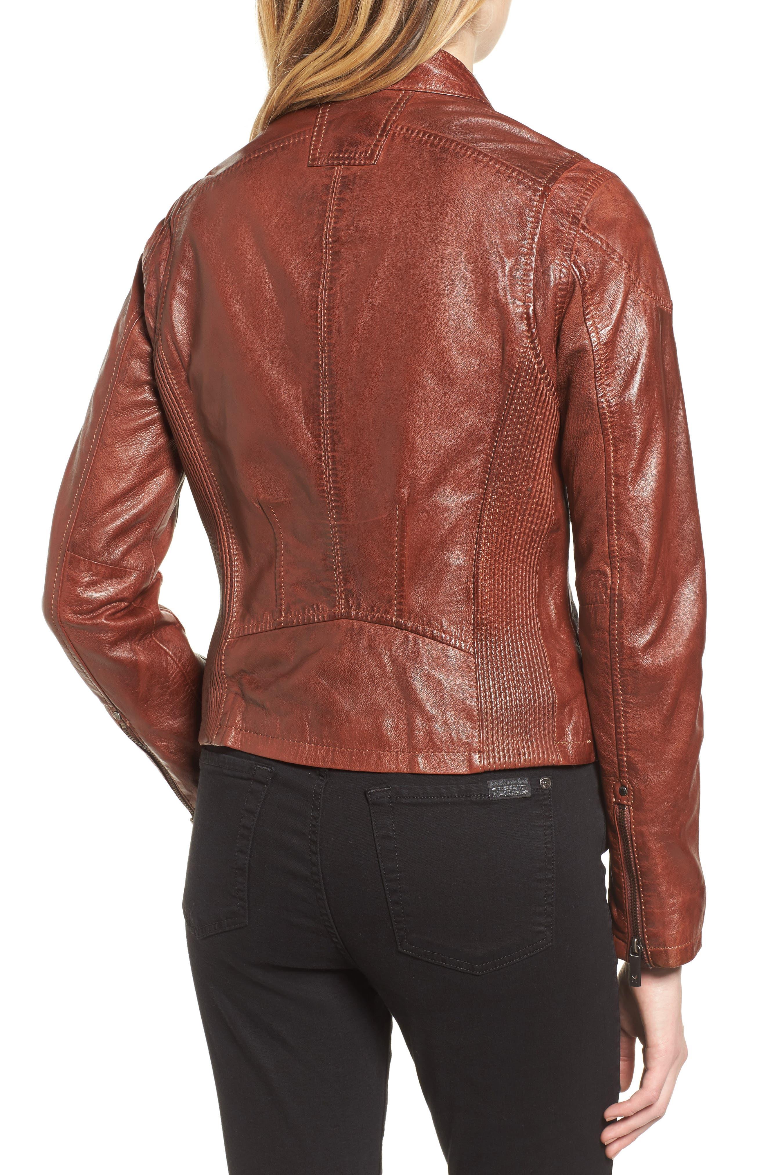 Alternate Image 2  - Mauritius Leather Lambskin Leather Moto Jacket