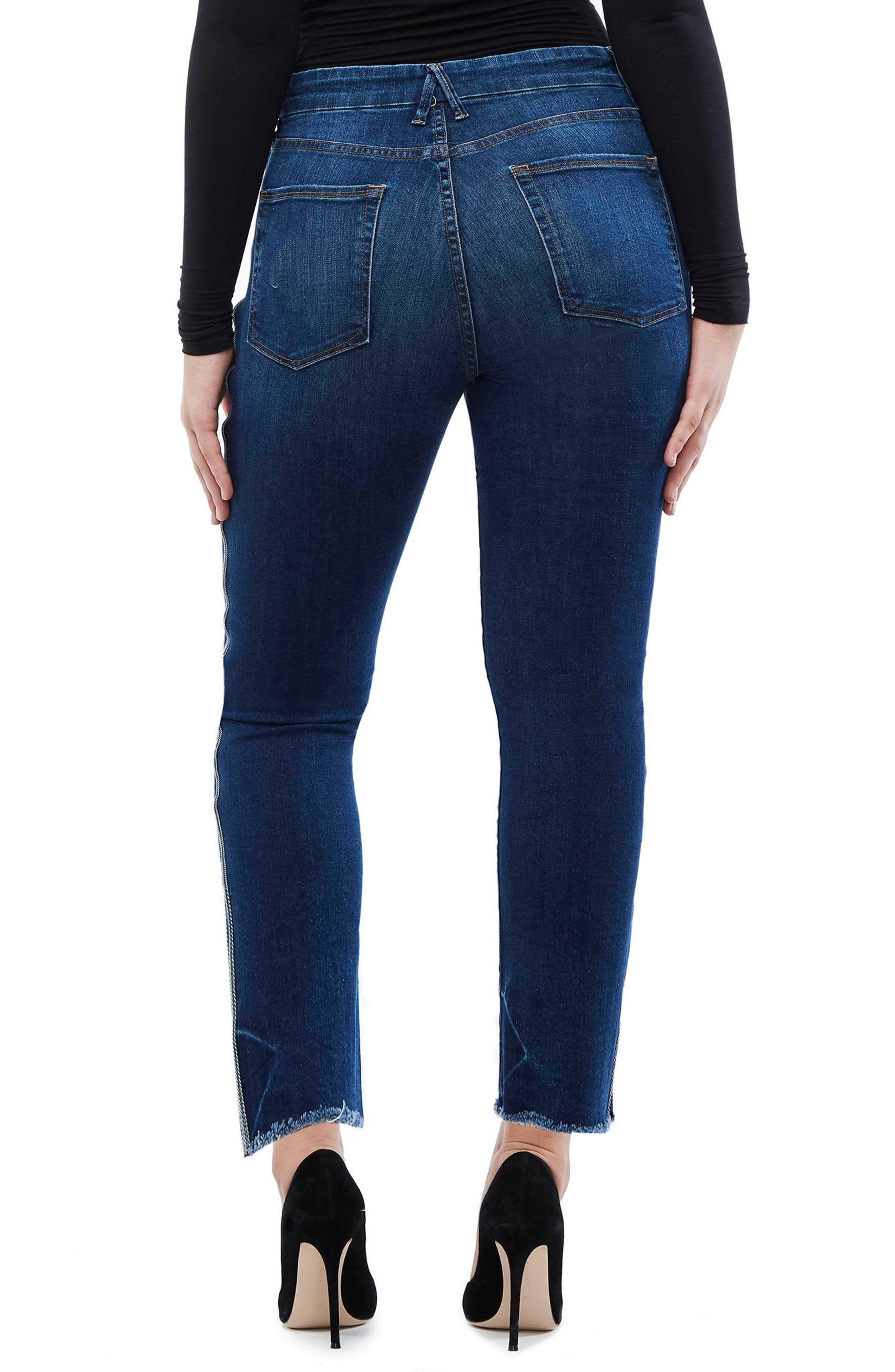 Good Straight Athletic Stripe High Waist Straight Leg Jeans,                             Alternate thumbnail 3, color,                             Blue122