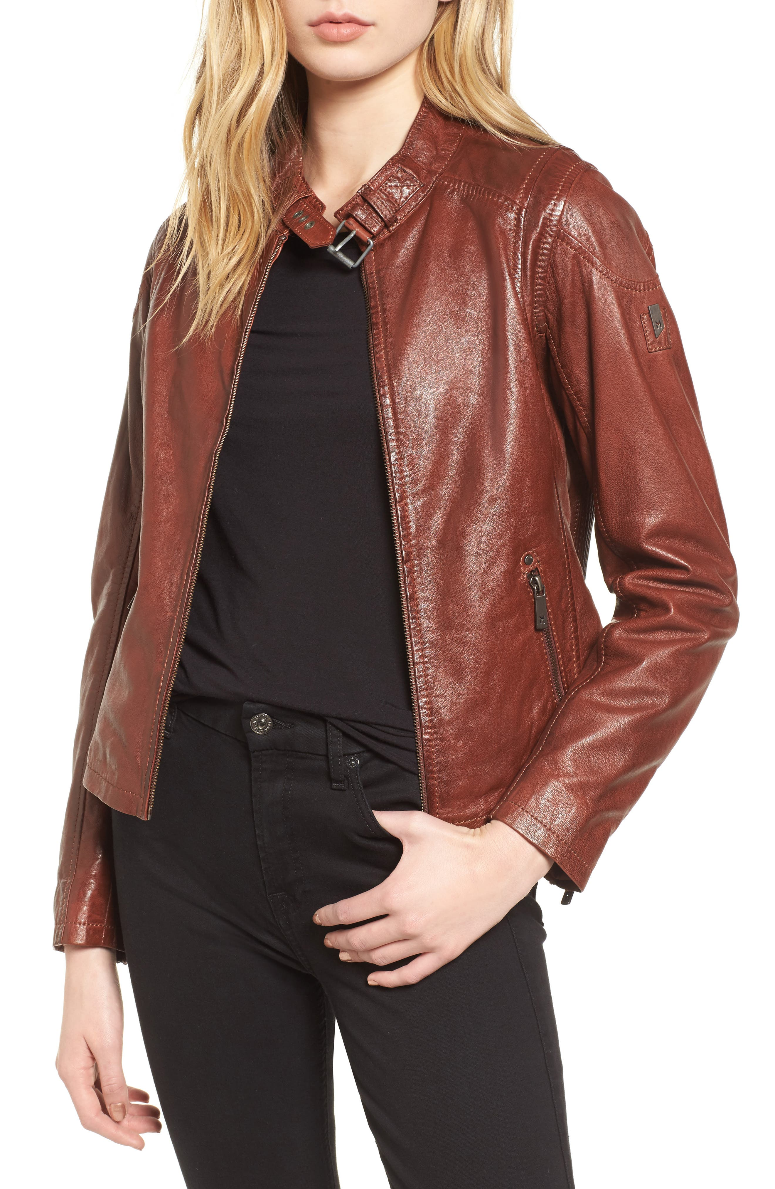 Alternate Image 1 Selected - Mauritius Leather Lambskin Leather Moto Jacket