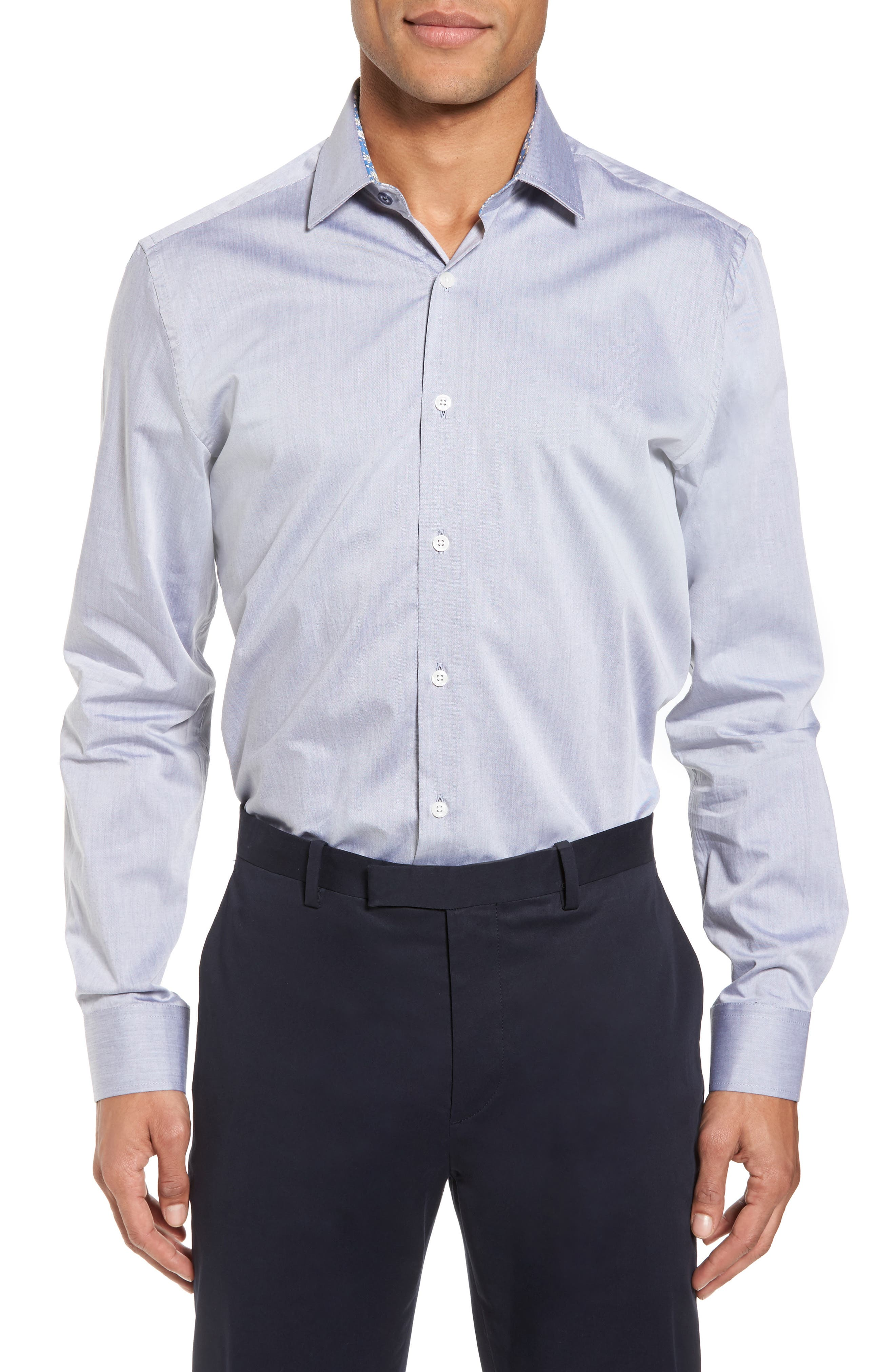Trim Fit Solid Dress Shirt,                         Main,                         color, Grey