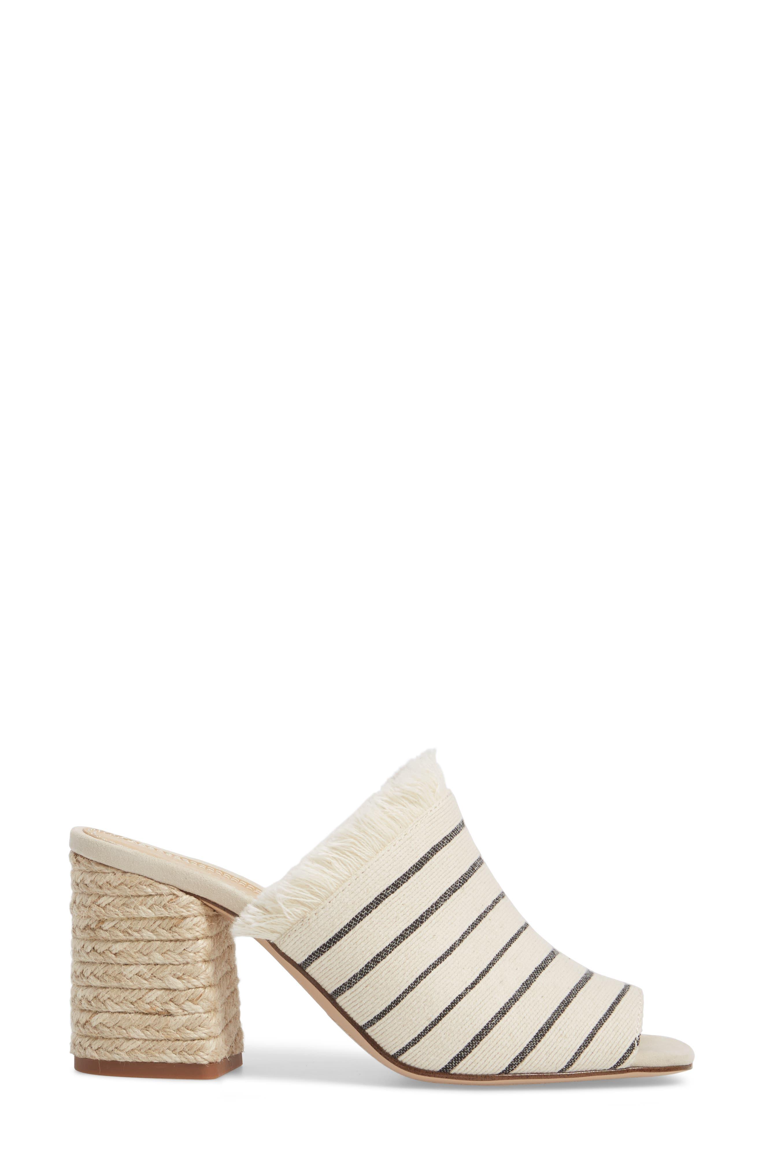 Baron Fringed Block Heel Slide,                             Alternate thumbnail 3, color,                             Cream Leather