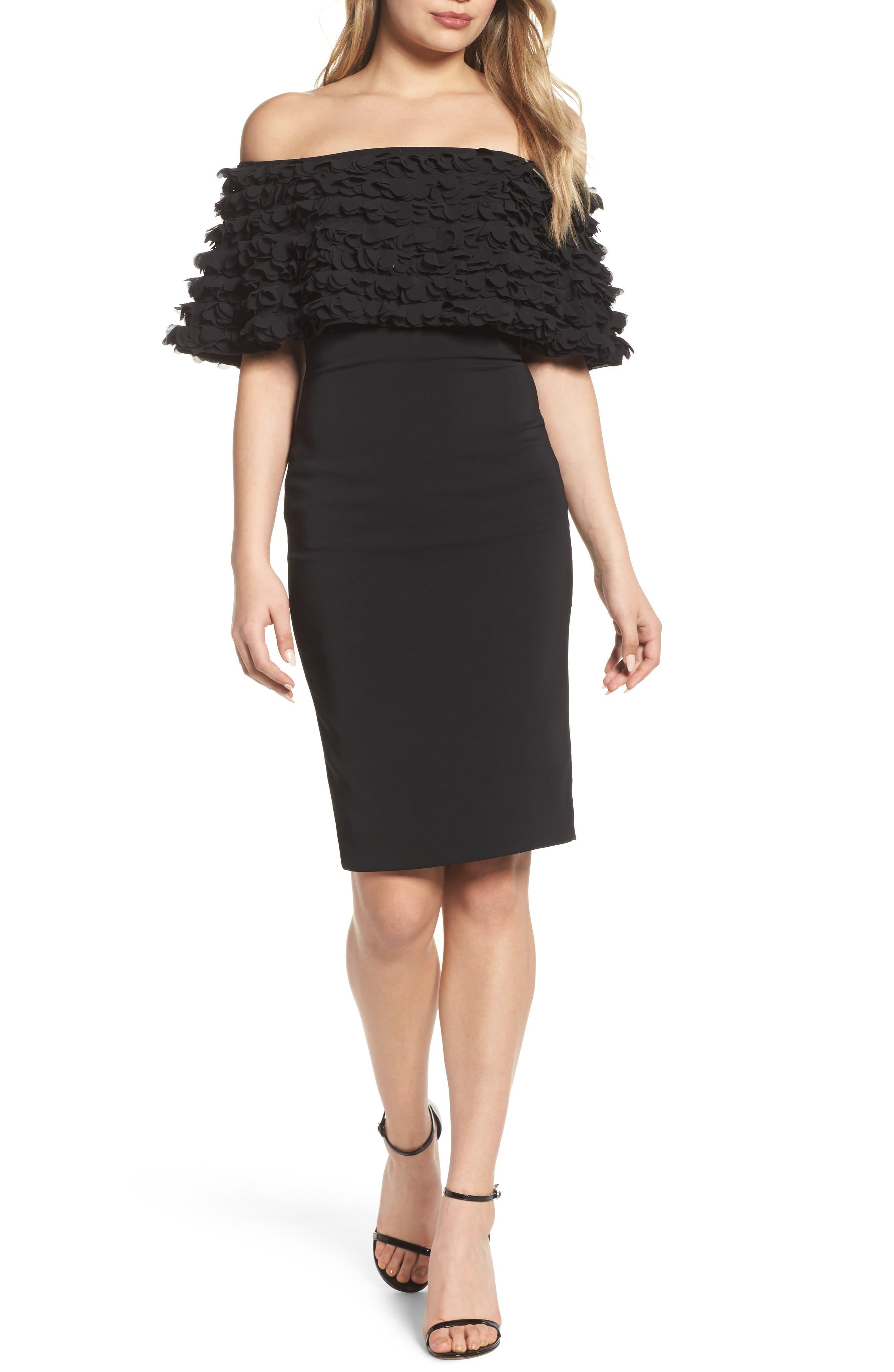 Alternate Image 1 Selected - Badgley Mischka Off the Shoulder Sheath Dress