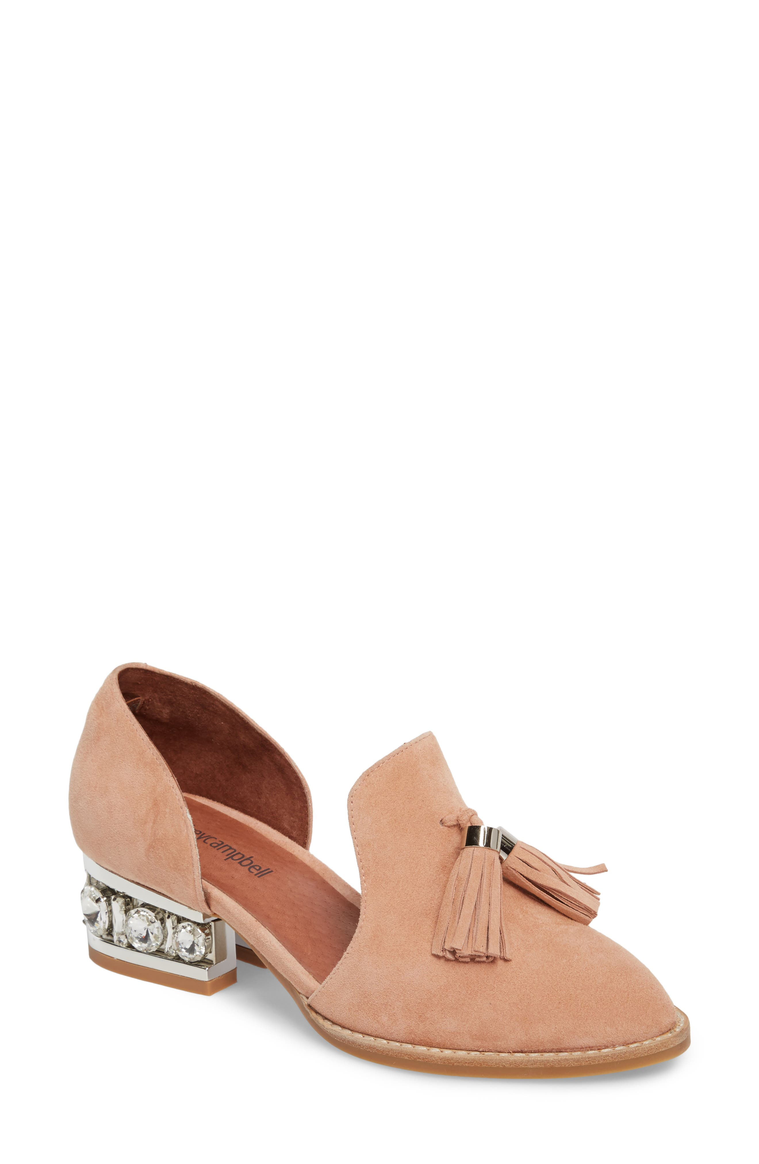 Civil Studded Loafer,                             Main thumbnail 1, color,                             Blush/ Silver Suede