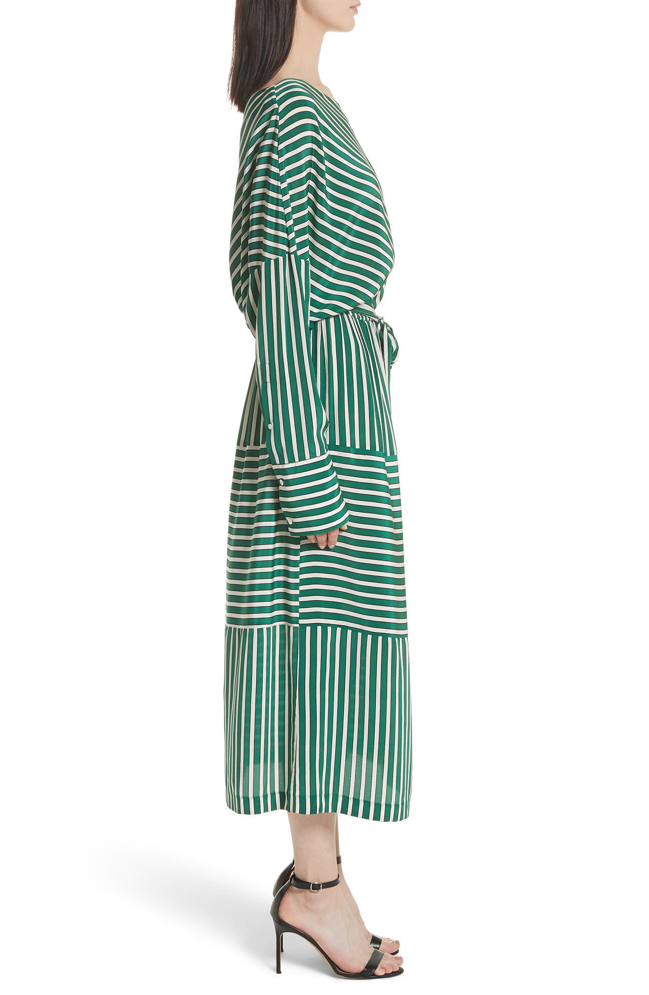 Stripe Silk Cold Shoulder Dress,                             Alternate thumbnail 3, color,                             Large Green Stripe