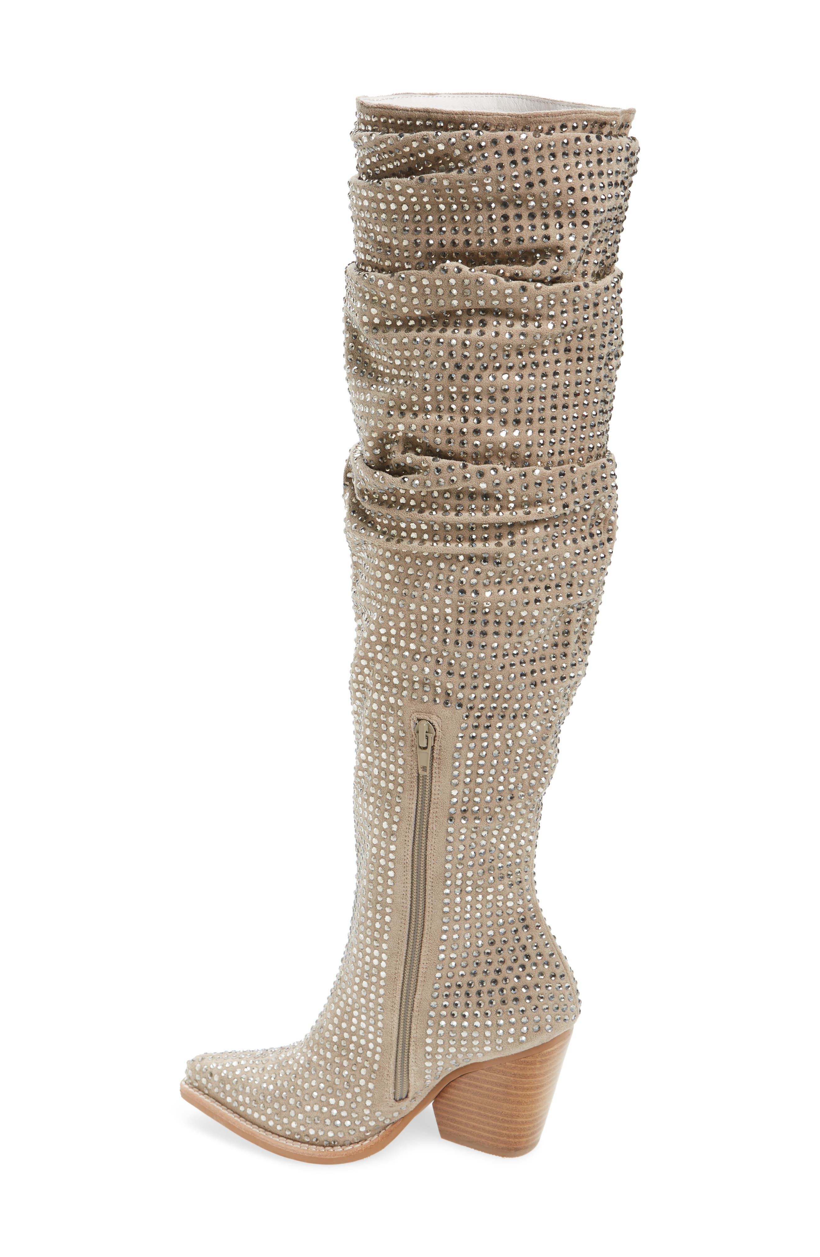 Controlla Slouch Over the Knee Boot,                             Alternate thumbnail 2, color,                             Taupe/ Silver Faux Suede
