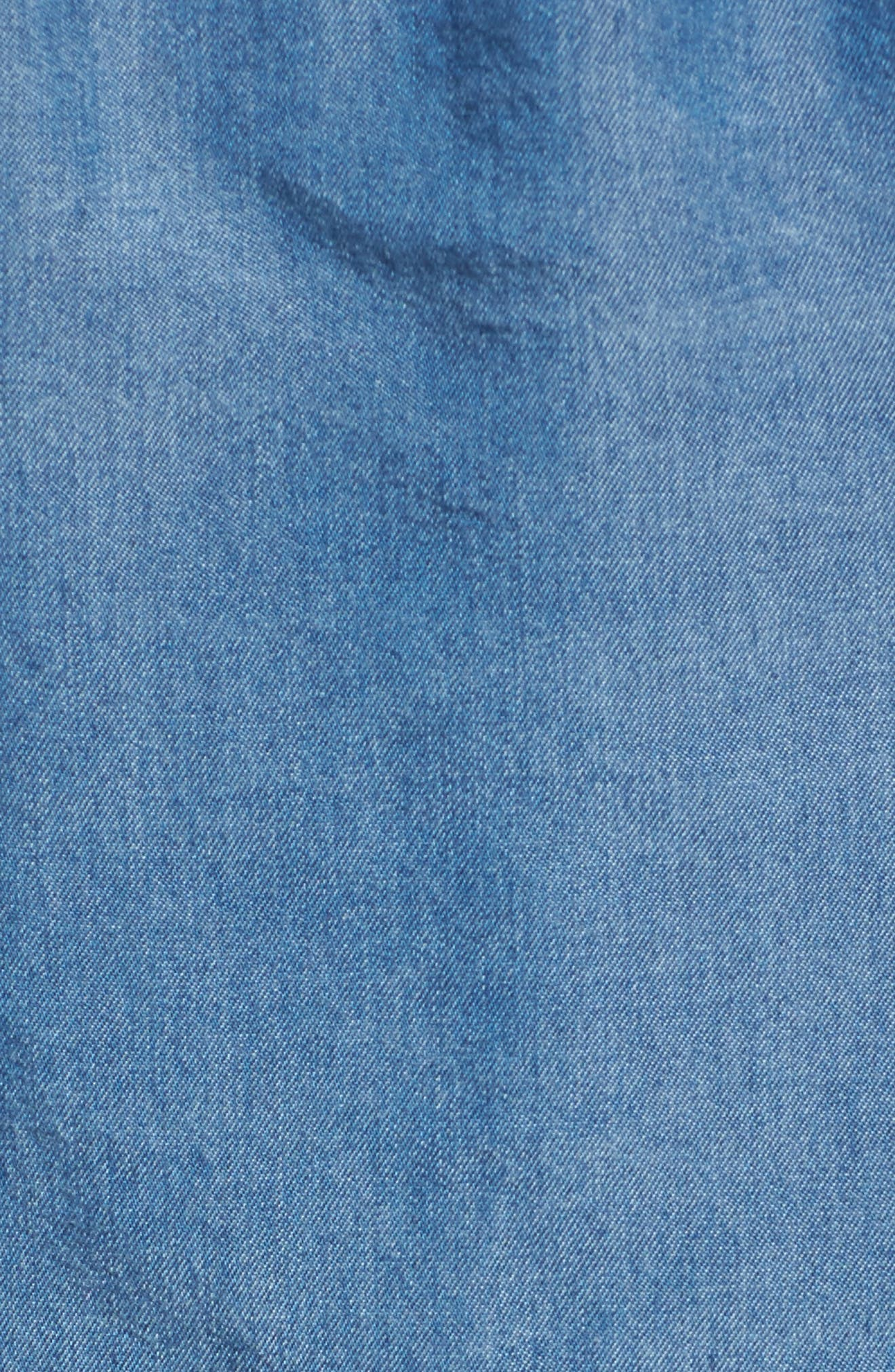 Off the Shoulder Chambray Top,                             Alternate thumbnail 5, color,                             Med Wash