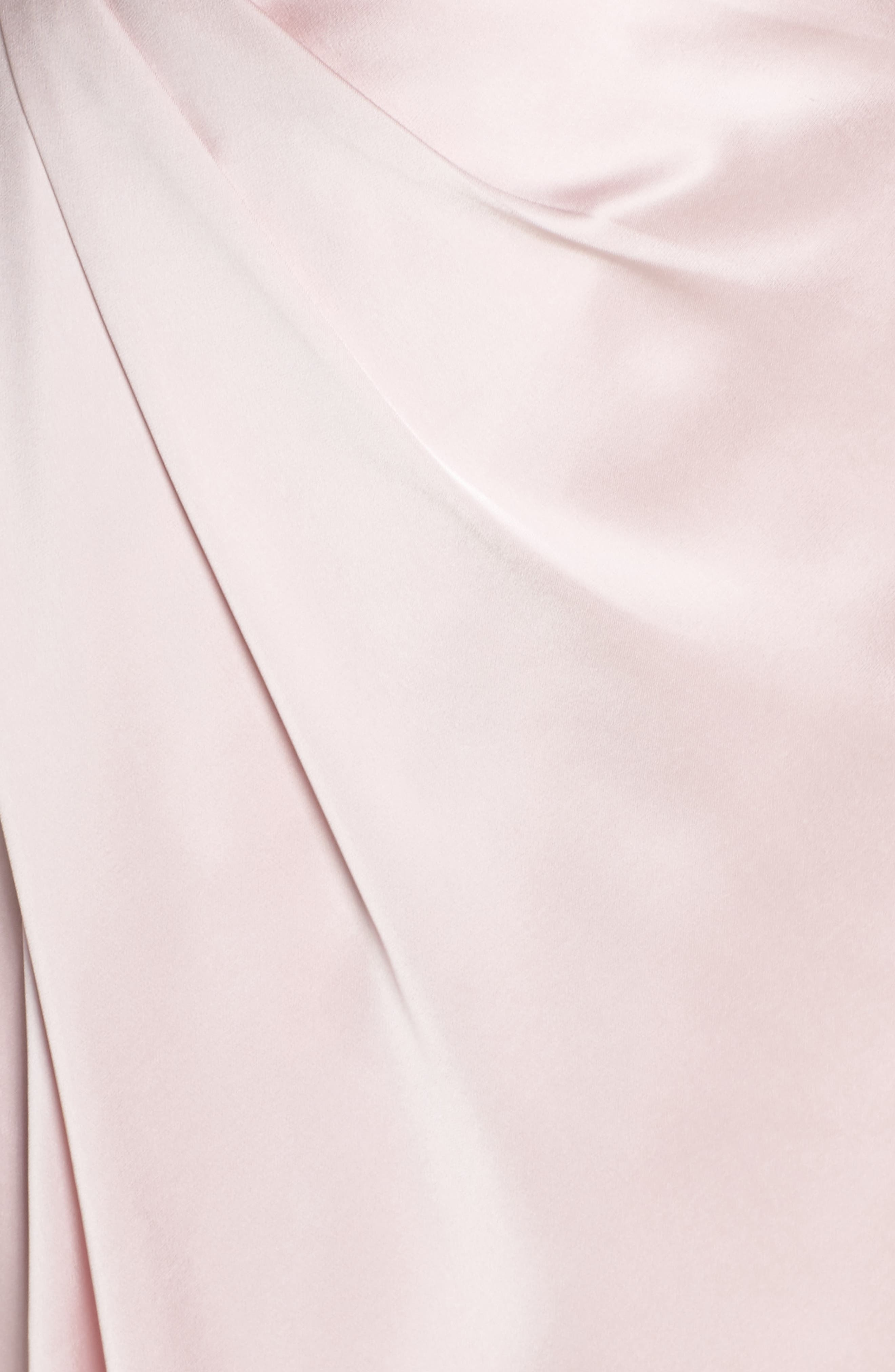 Gathered Strapless Satin Gown,                             Alternate thumbnail 5, color,                             Blush