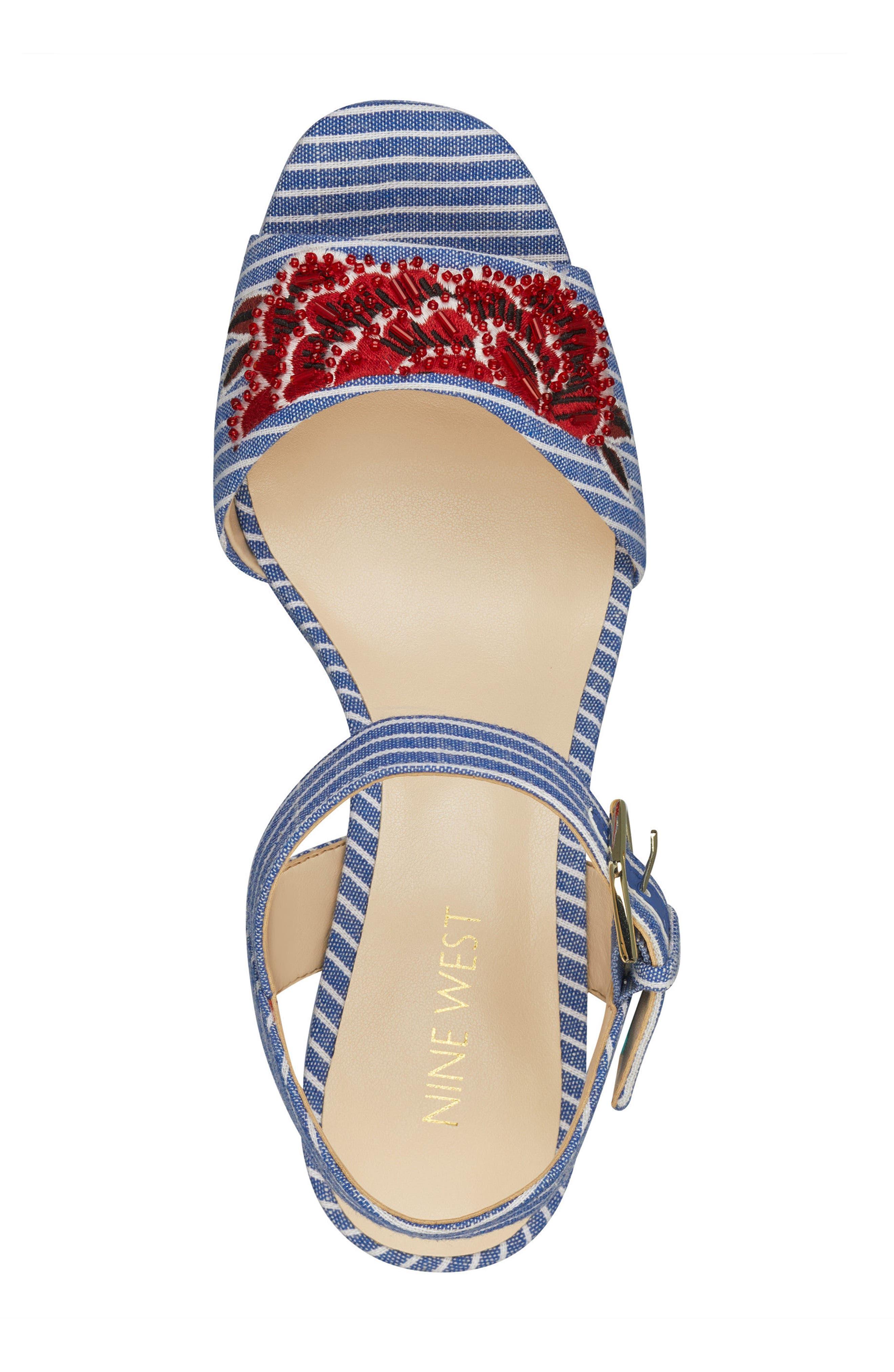 Fontayah Platform Sandal,                             Alternate thumbnail 5, color,                             Blue/ White Fabric