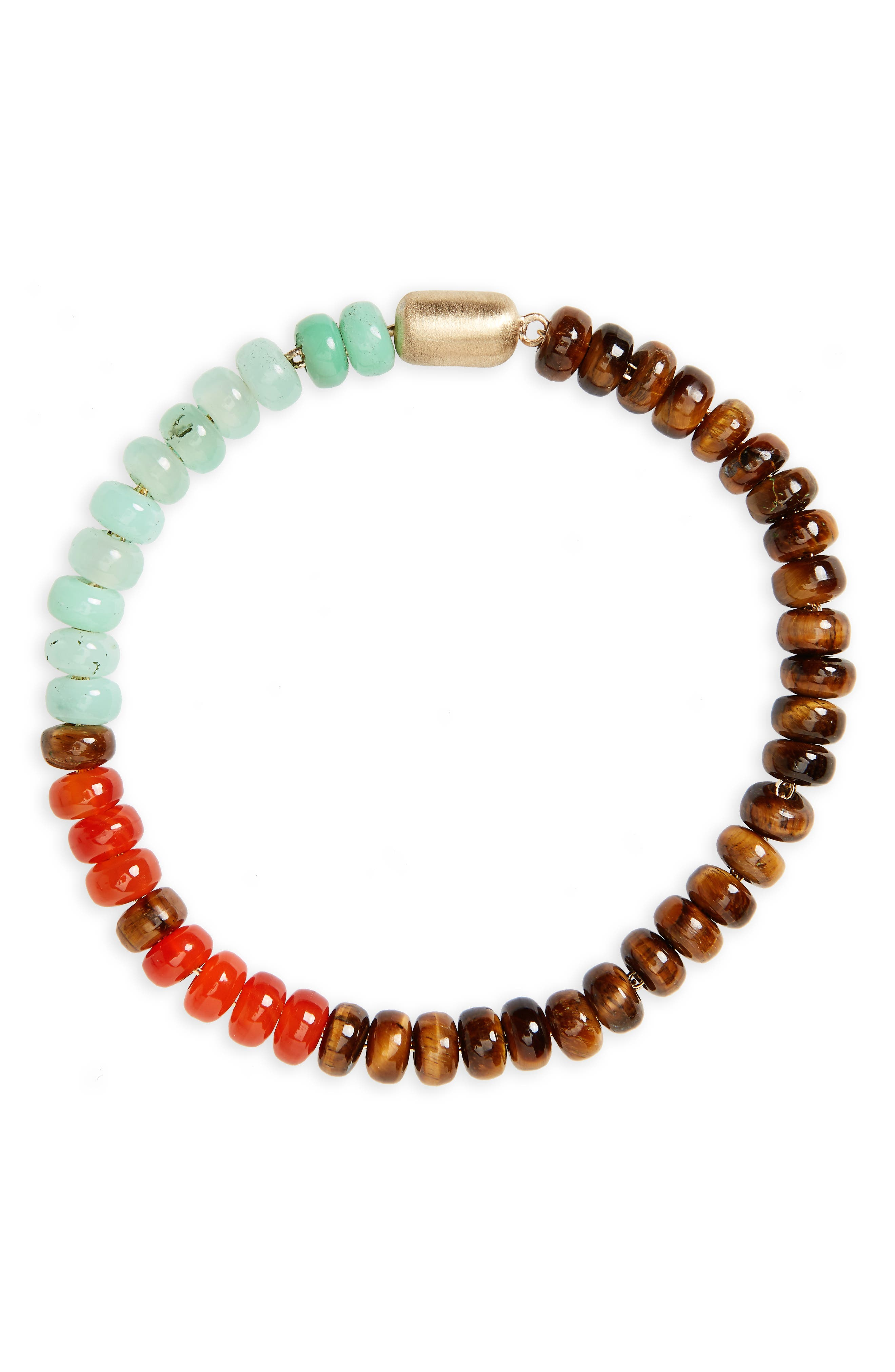 Gemstone Bracelet,                             Main thumbnail 1, color,                             Brown/ Turquoise