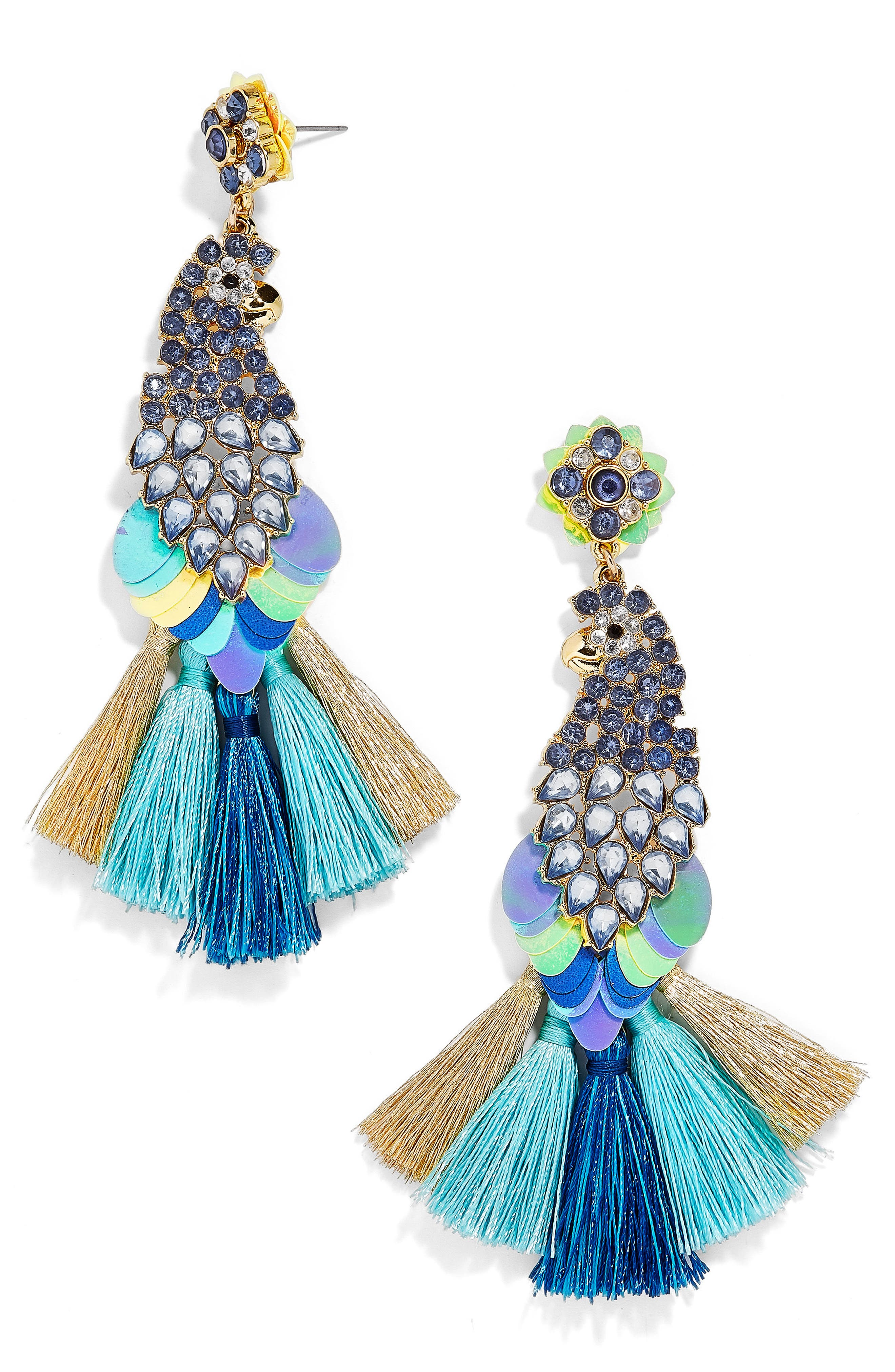 Macaw Statement Earrings,                             Main thumbnail 1, color,                             Blue