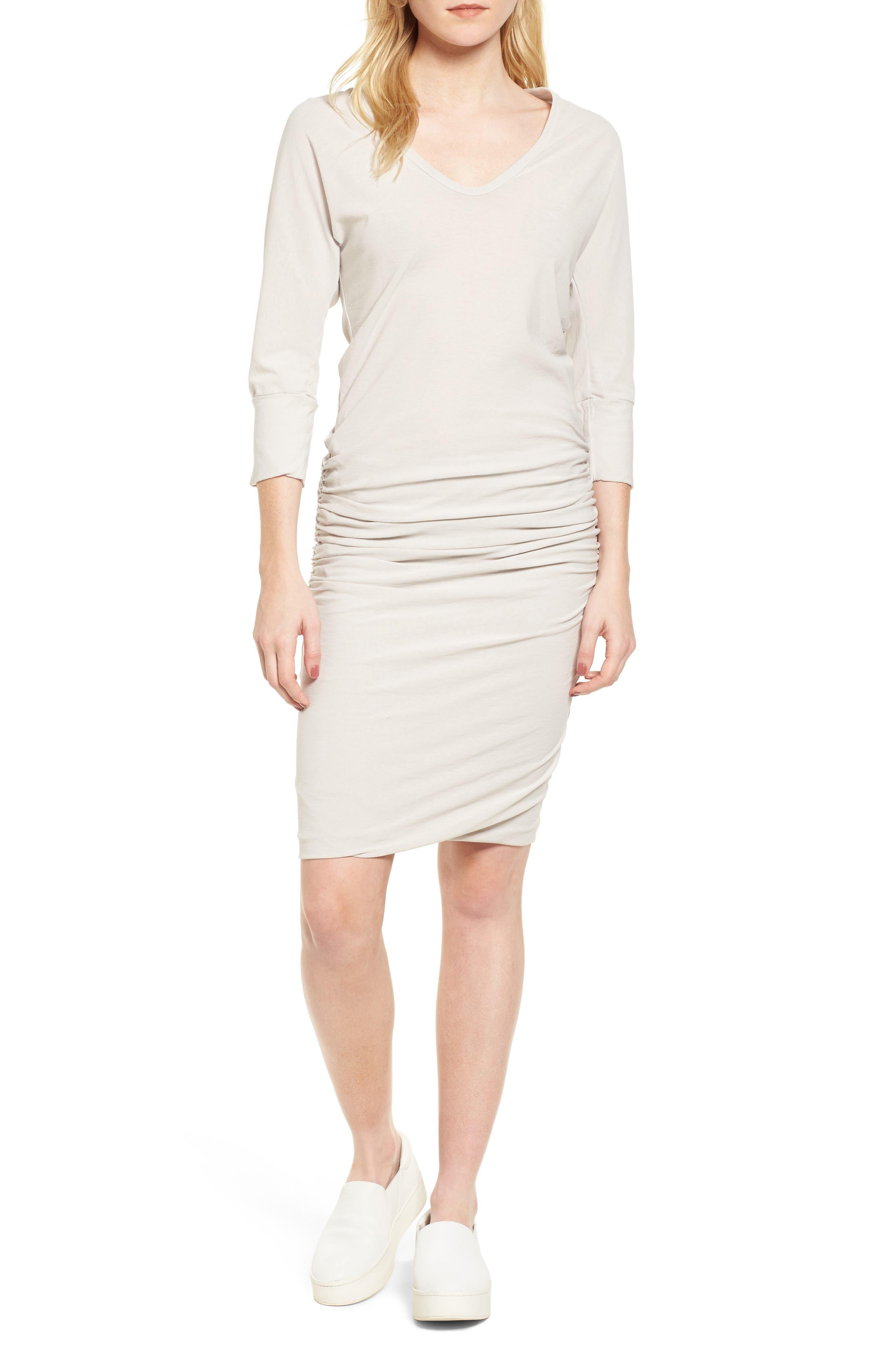 Shirred Cotton Dress,                         Main,                         color, Dapple