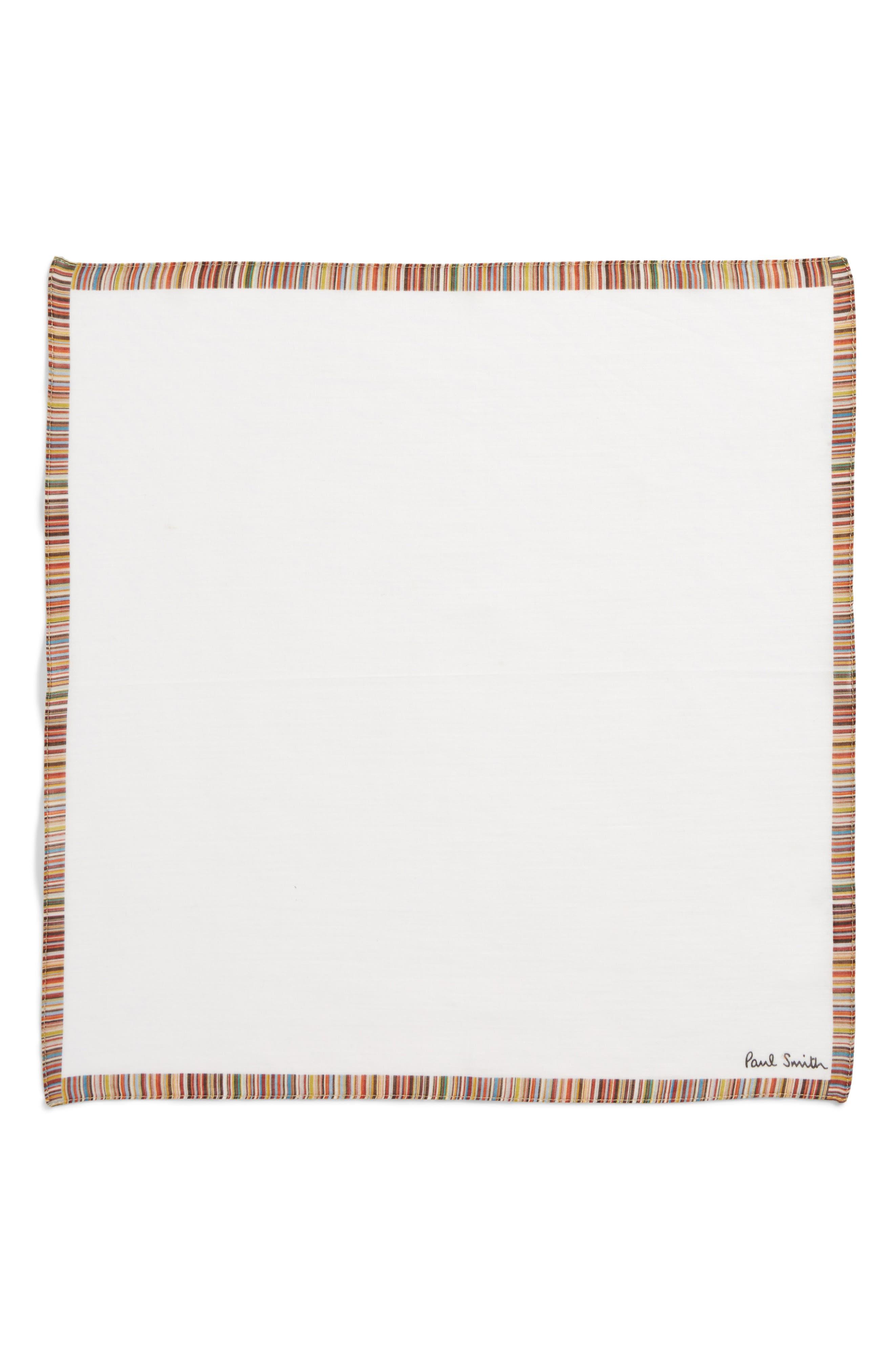 Multistripe Pocket Square,                             Alternate thumbnail 2, color,                             White