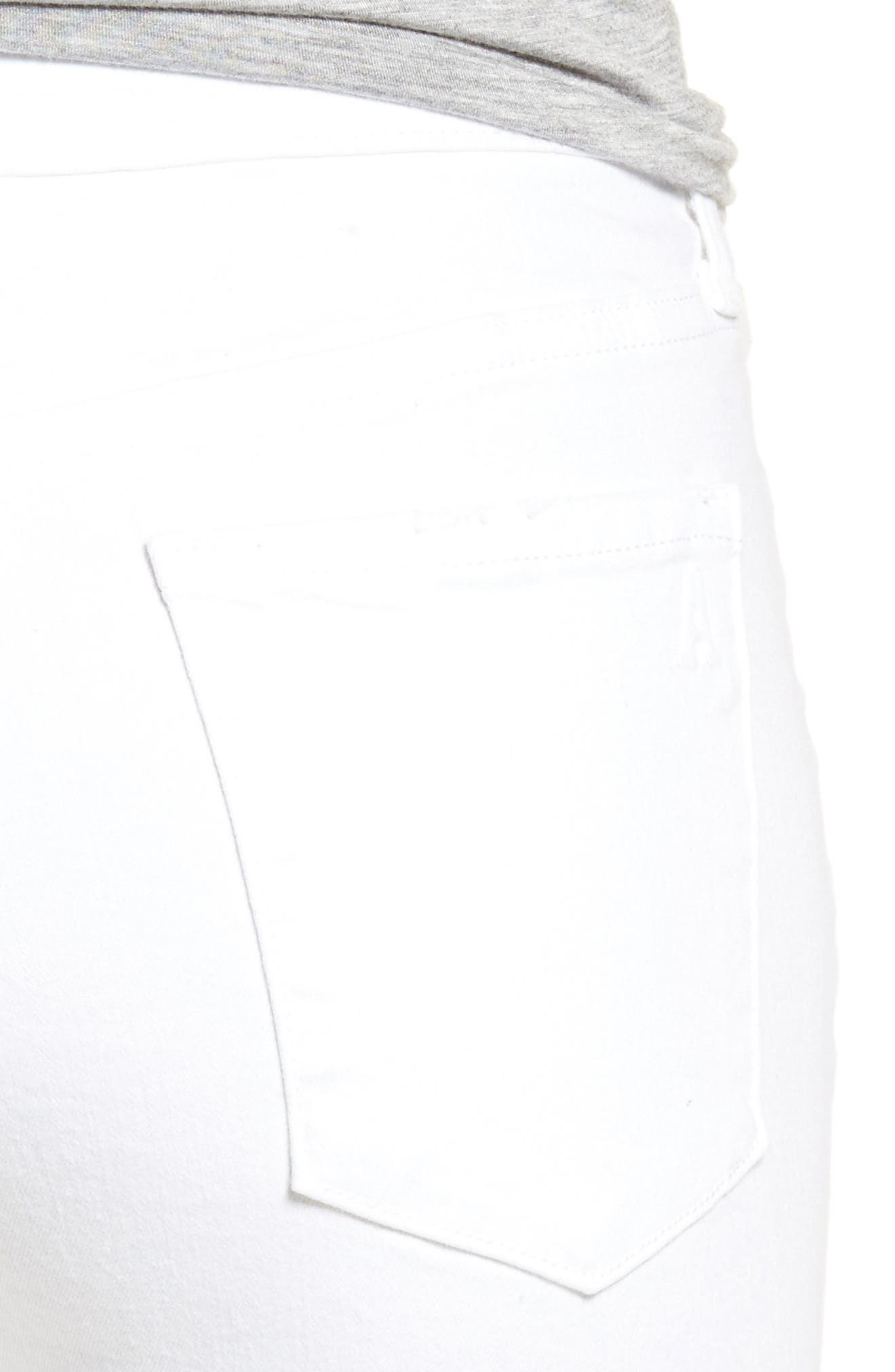 Carly Distressed Ankle Skinny Jeans,                             Alternate thumbnail 4, color,                             Cannes