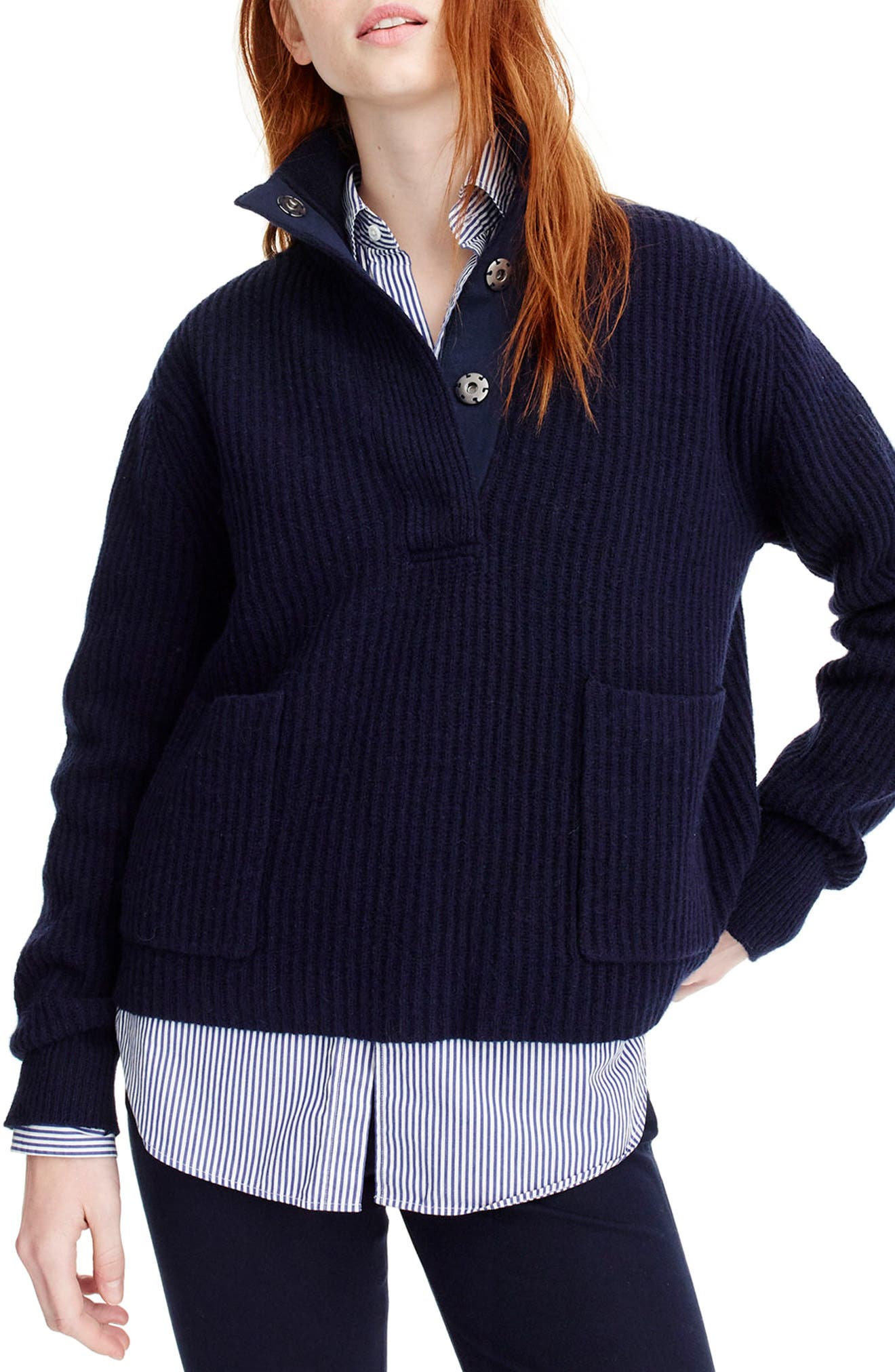 J.Crew Kay Lambswool Pullover Sweater,                             Main thumbnail 1, color,                             Navy